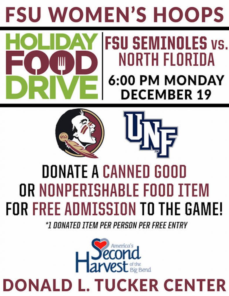 Noles Host UNF on Monday Holiday Food Drive