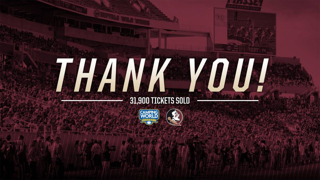FSU Announces Sell Out Of Camping World Kickoff Ticket Allotment