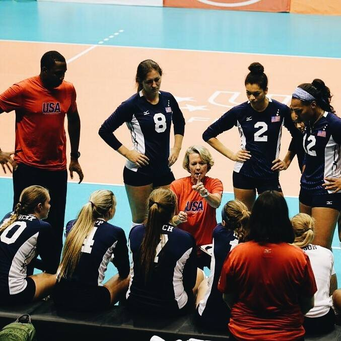 Team USA Head Coach Mary Wise talks to Team USA during a timeout.