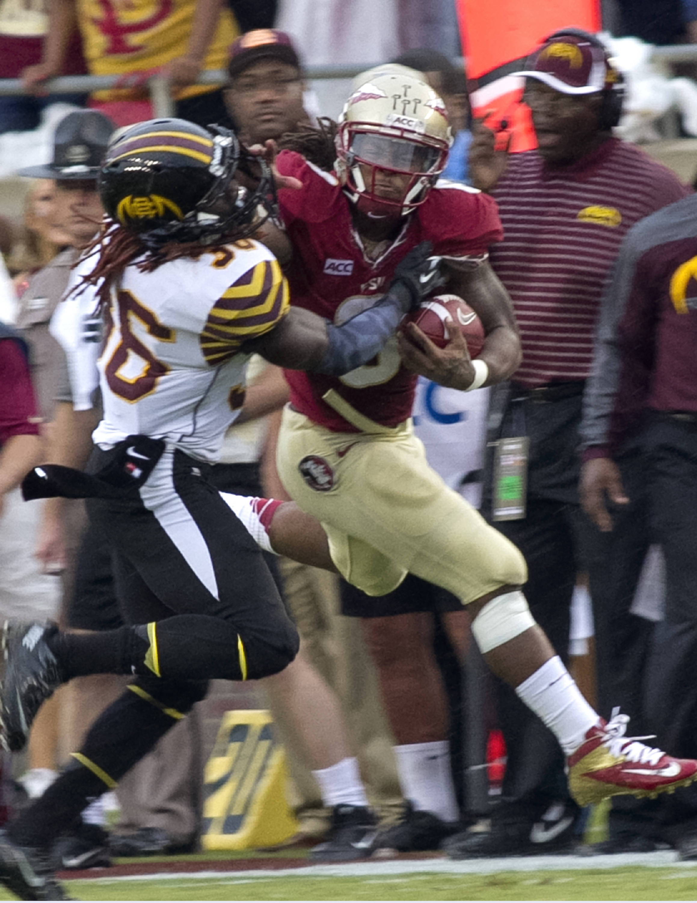 Devonta Freeman (8), FSU vs Bethune-Cookman,  9-21-13, (Photo by Steve Musco)