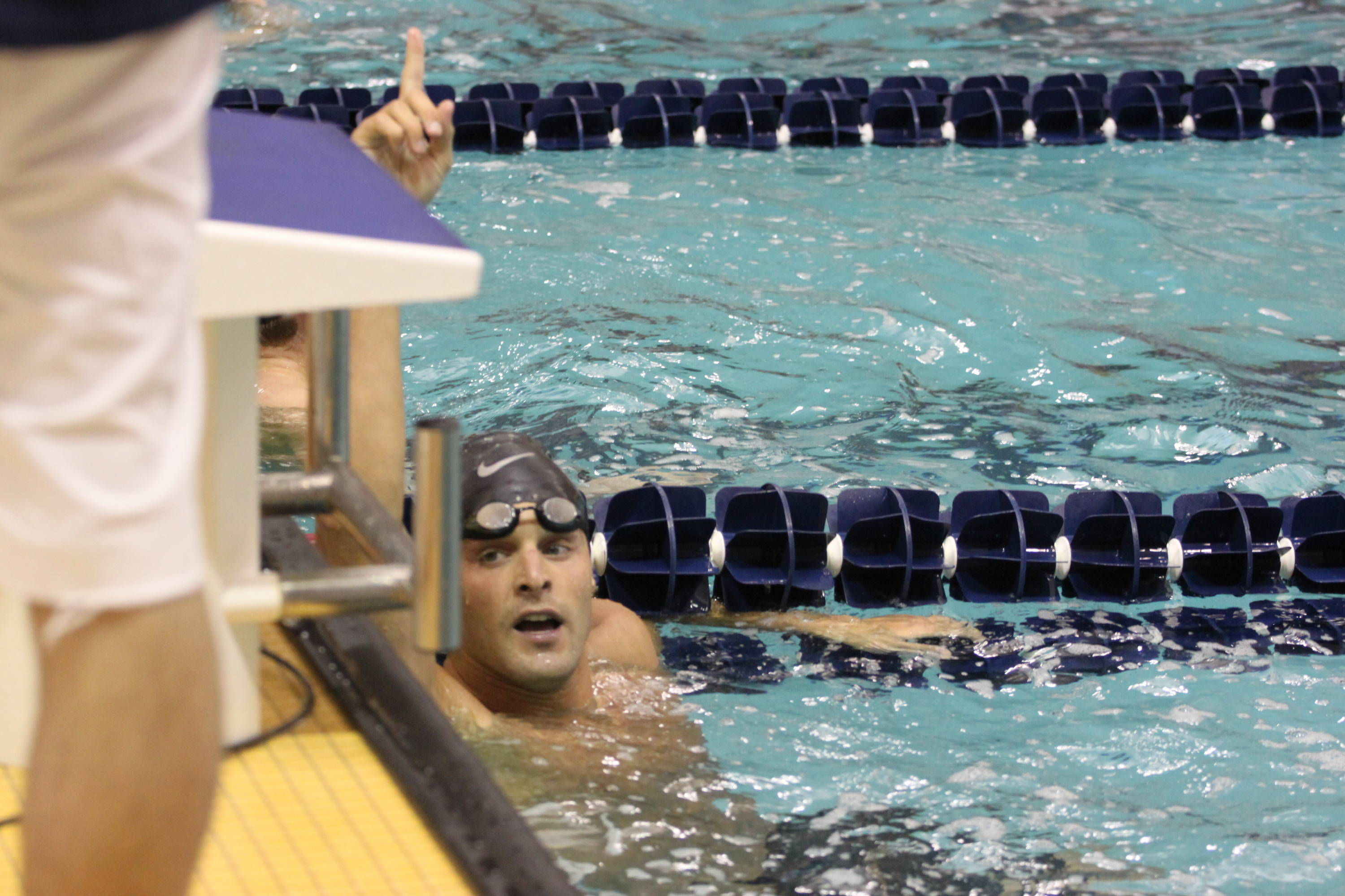 Robby Hayes reacts after earning third in the 100 free
