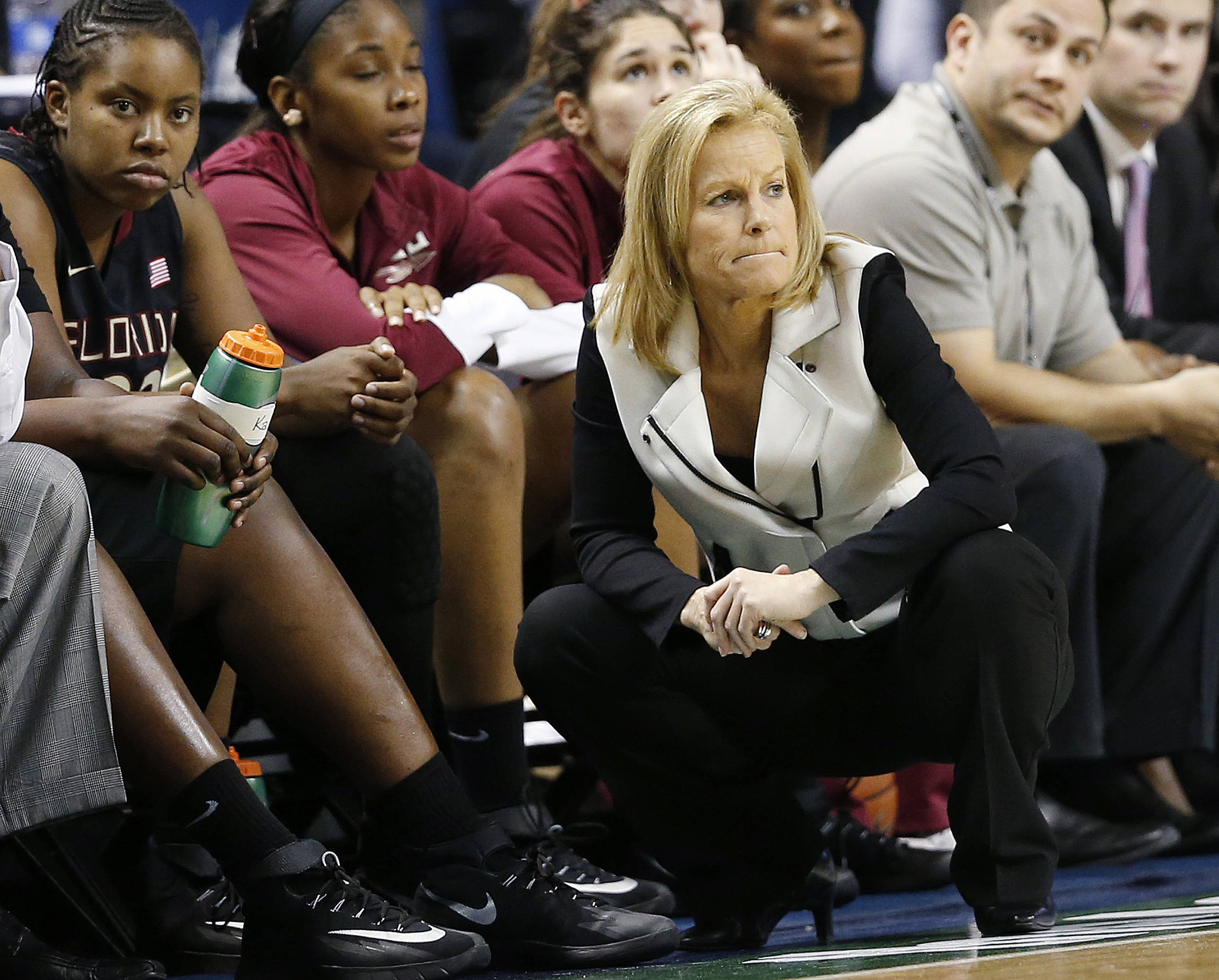 Mar 7, 2014; Greensboro, NC, USA; Florida State head coach Sue Semrau and members of the Florida State bench react against Notre Dame at Greensboro Coliseum. Ellen Ozier-USA TODAY Sports