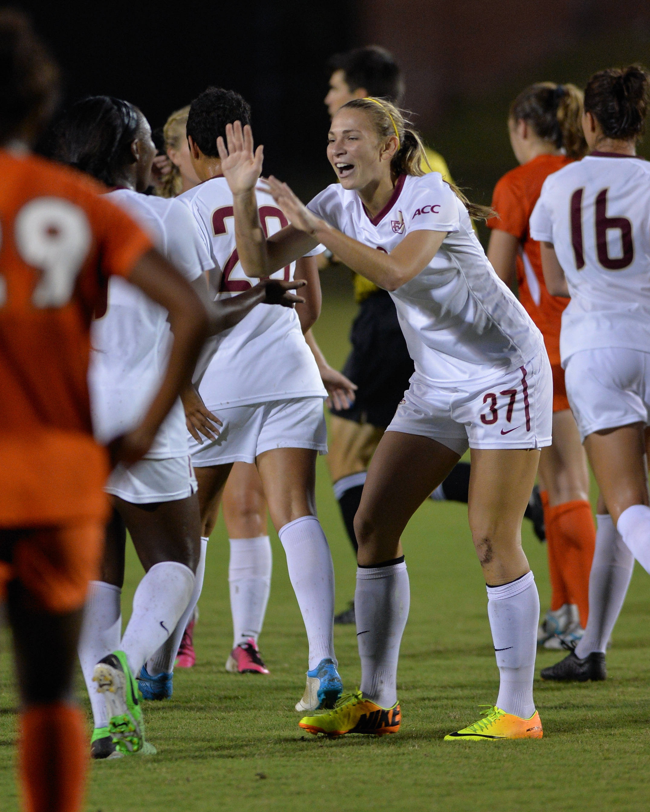 The Seminoles celebrate after scoring a goal Thursday night.