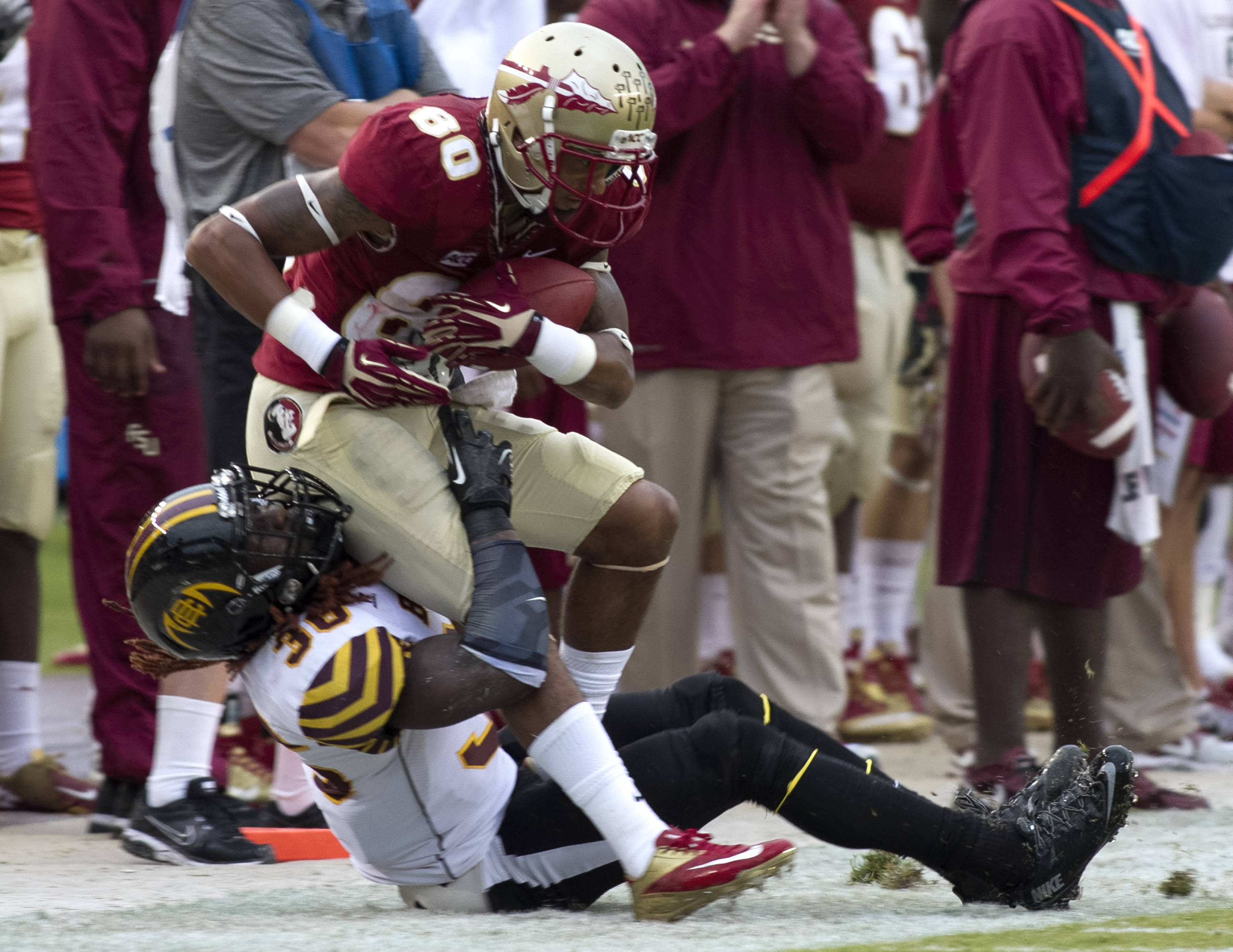 Rashad Greene (80), FSU vs Bethune-Cookman,  9-21-13, (Photo by Steve Musco)