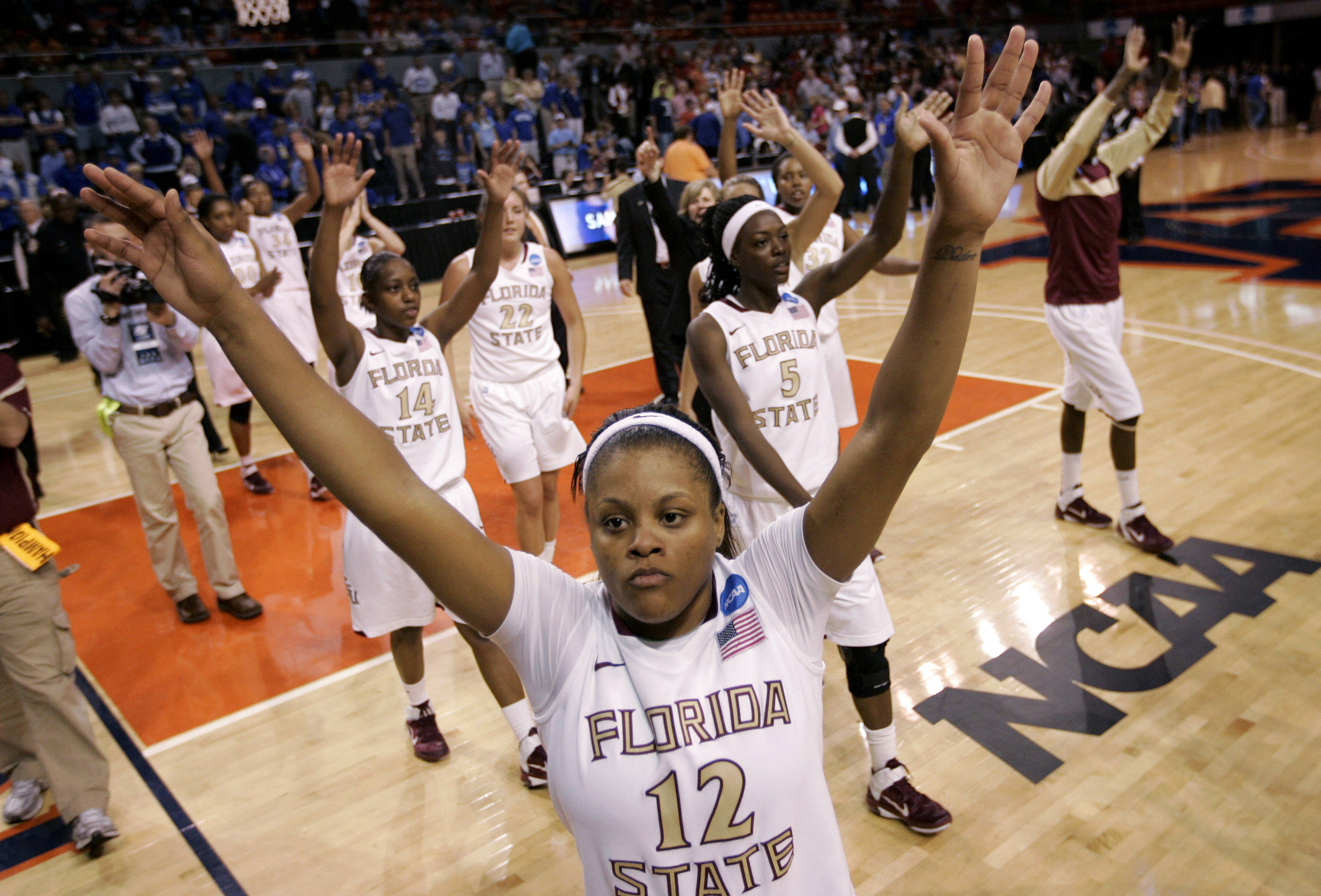 Florida State guard Courtney Ward  reacts at the end of a 76-46 win over Samford in the first round NCAA women's college basketball tournament. (AP Photo/Dave Martin)