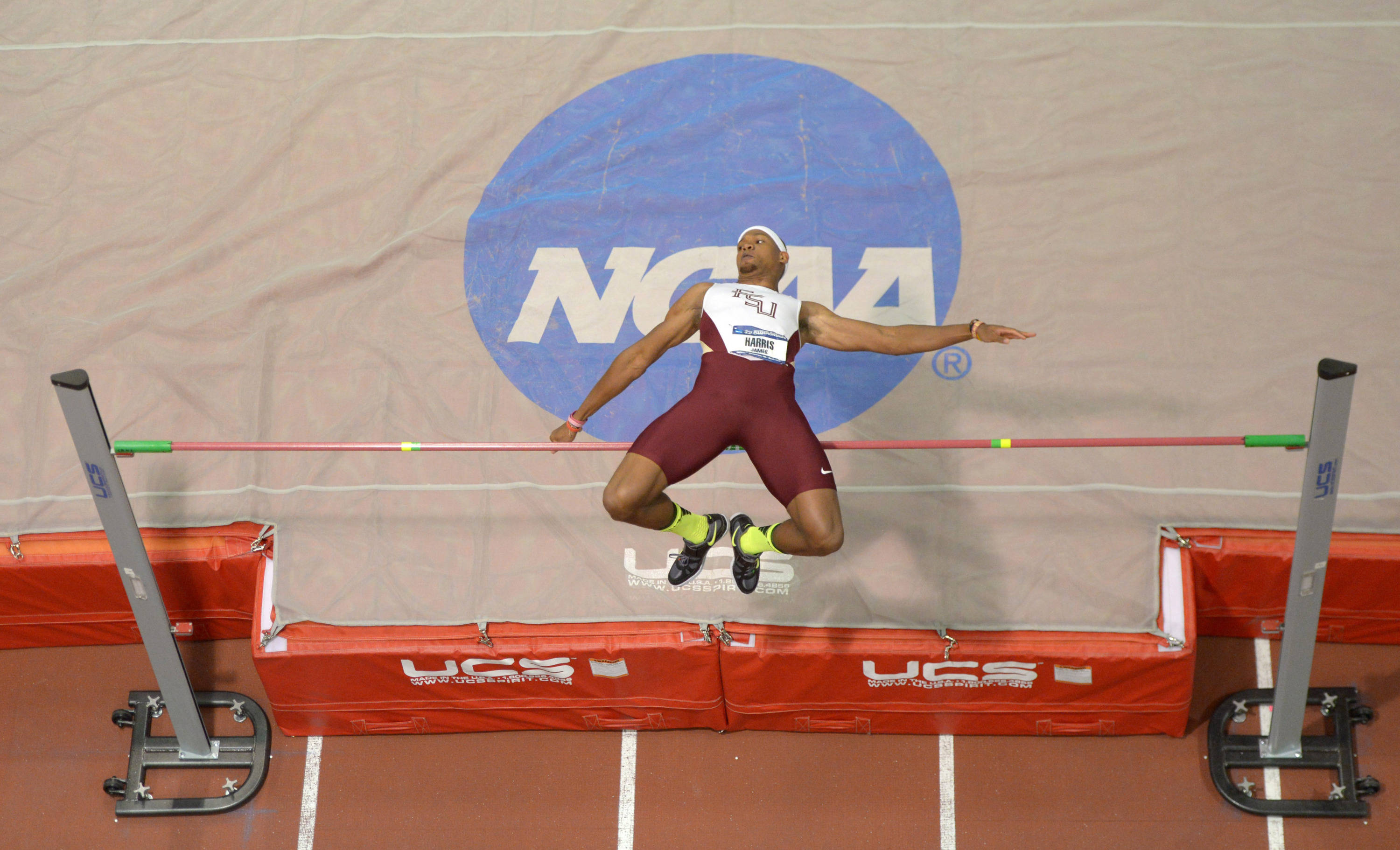 Mar 14, 2014; Albuquerque, NM, USA; General view of James Harris of Florida State in the high jump during the 2014 NCAA Indoor Championships at Albuquerque Convention Center. Harris won with a clearance of 7-7 1/4 (2.32m).Mandatory Credit: Kirby Lee-USA TODAY Sports
