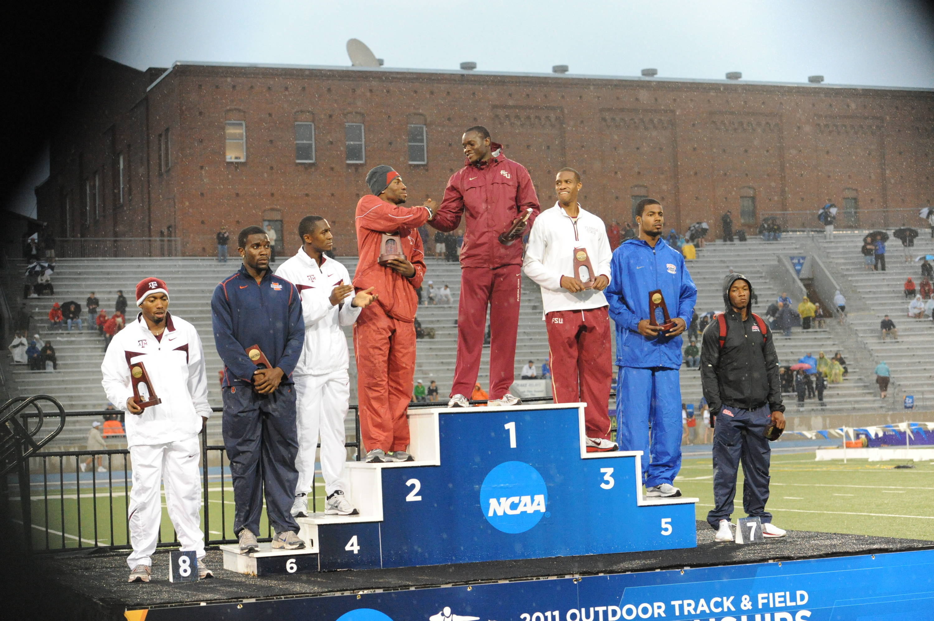 Standing atop the podium after his win in the 100 became a familiar sight throughout the NCAA meet as he was just warming up ...