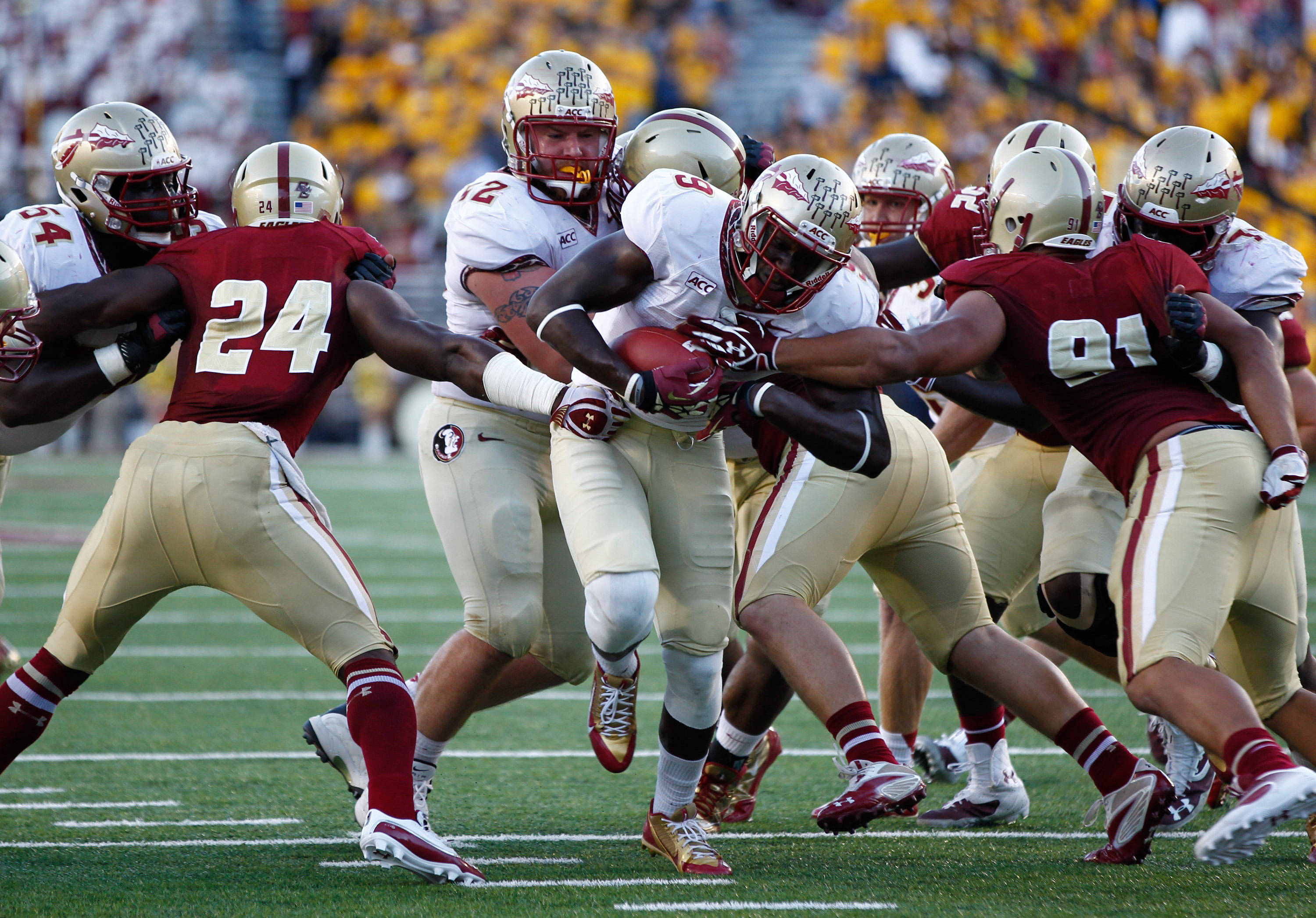 Karlos Williams (9) carries the ball. Mandatory Credit: Mark L. Baer-USA TODAY Sports