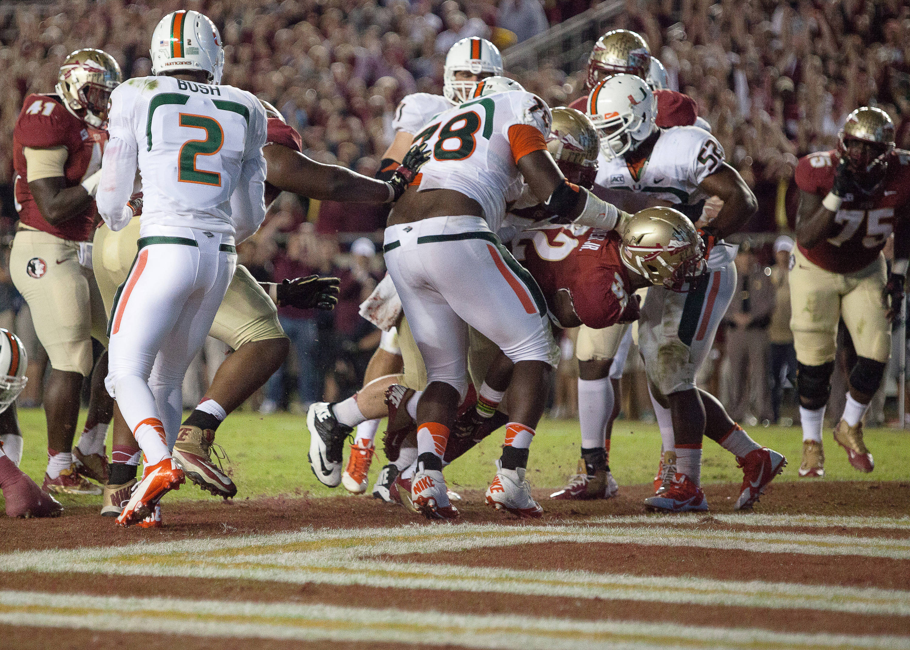 James Wilder, Jr. (32) makes a touchdown during FSU football's 41-14 win over Miami on Saturday, November 2, 2013 in Tallahassee, Fla. Photo by Michael Schwarz.
