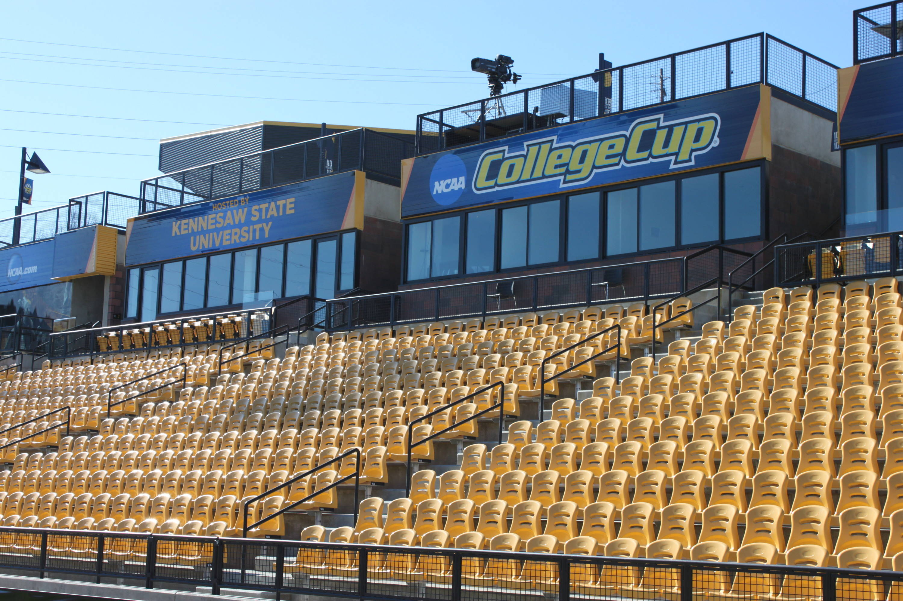 Another angle of the stands and the College Cup logos.