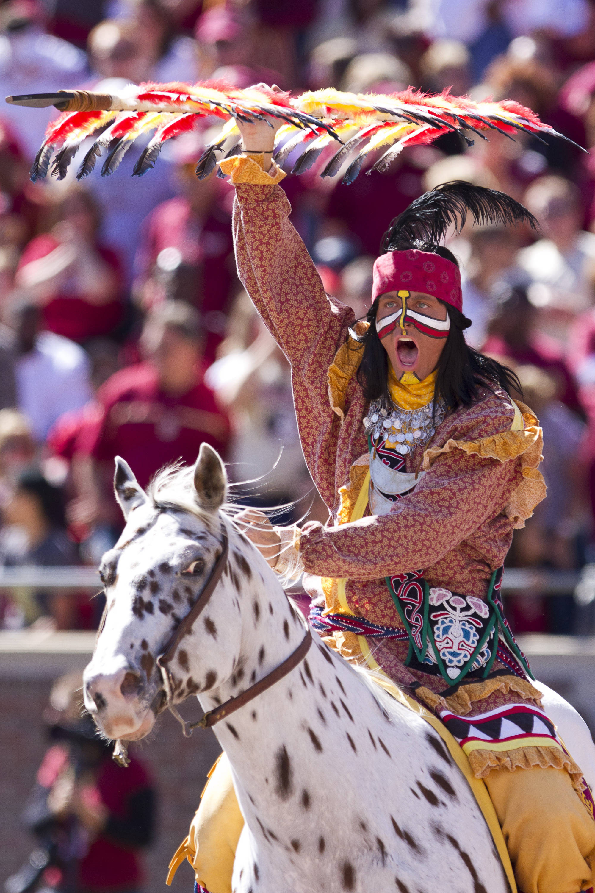 Chief Osceola celebrates after an FSU touchdown during the football game against NC State on October 29, 2011.