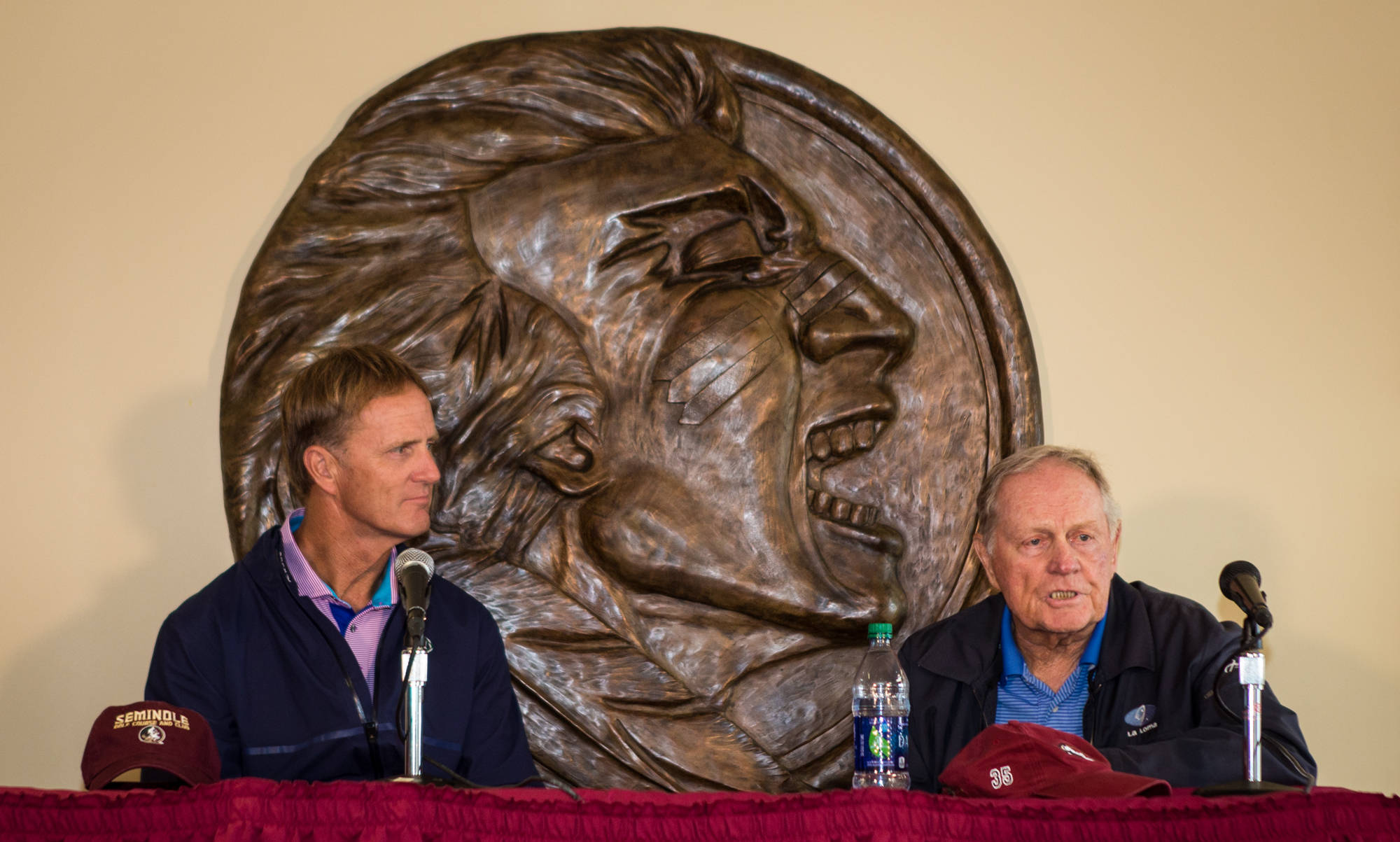 Jack Nicklaus II and his father Jack Nicklaus answer questions from the FSU Golf Lounge.