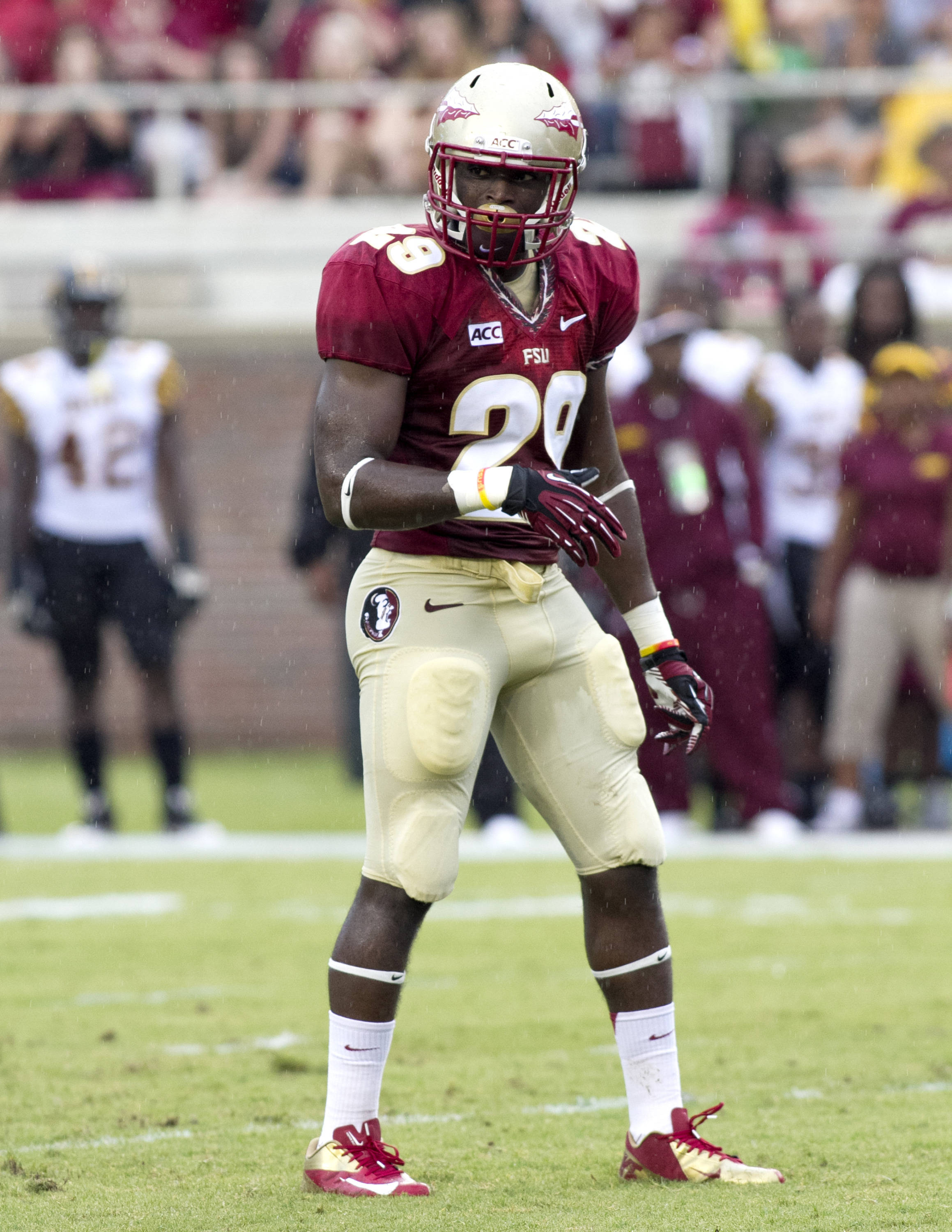 Nate Andrews (29), FSU vs Bethune-Cookman,  9-21-13, (Photo by Steve Musco)