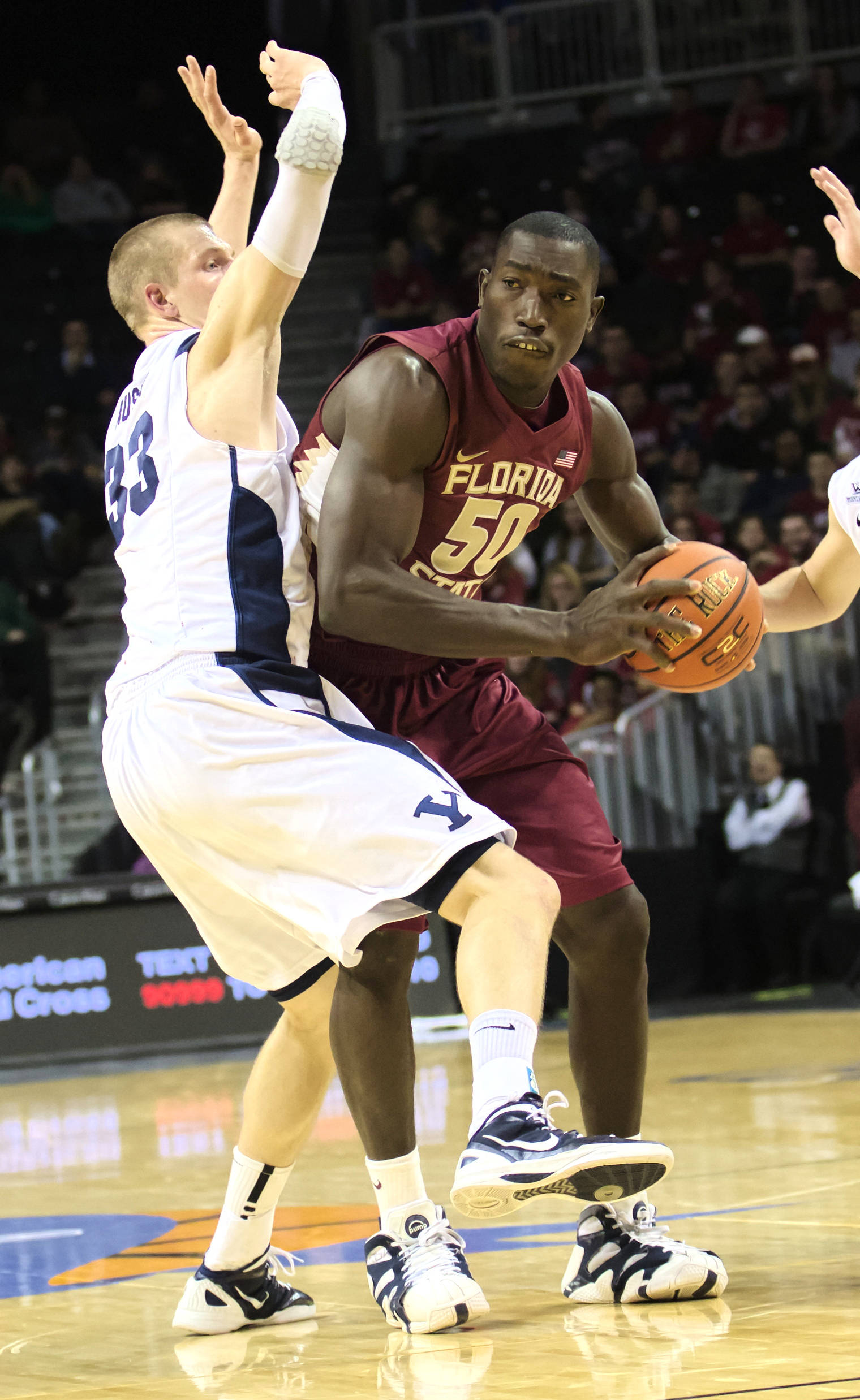 Michael Ojo (50), FSU vs BYU, 11/16/12. (Photo by Steve Musco)