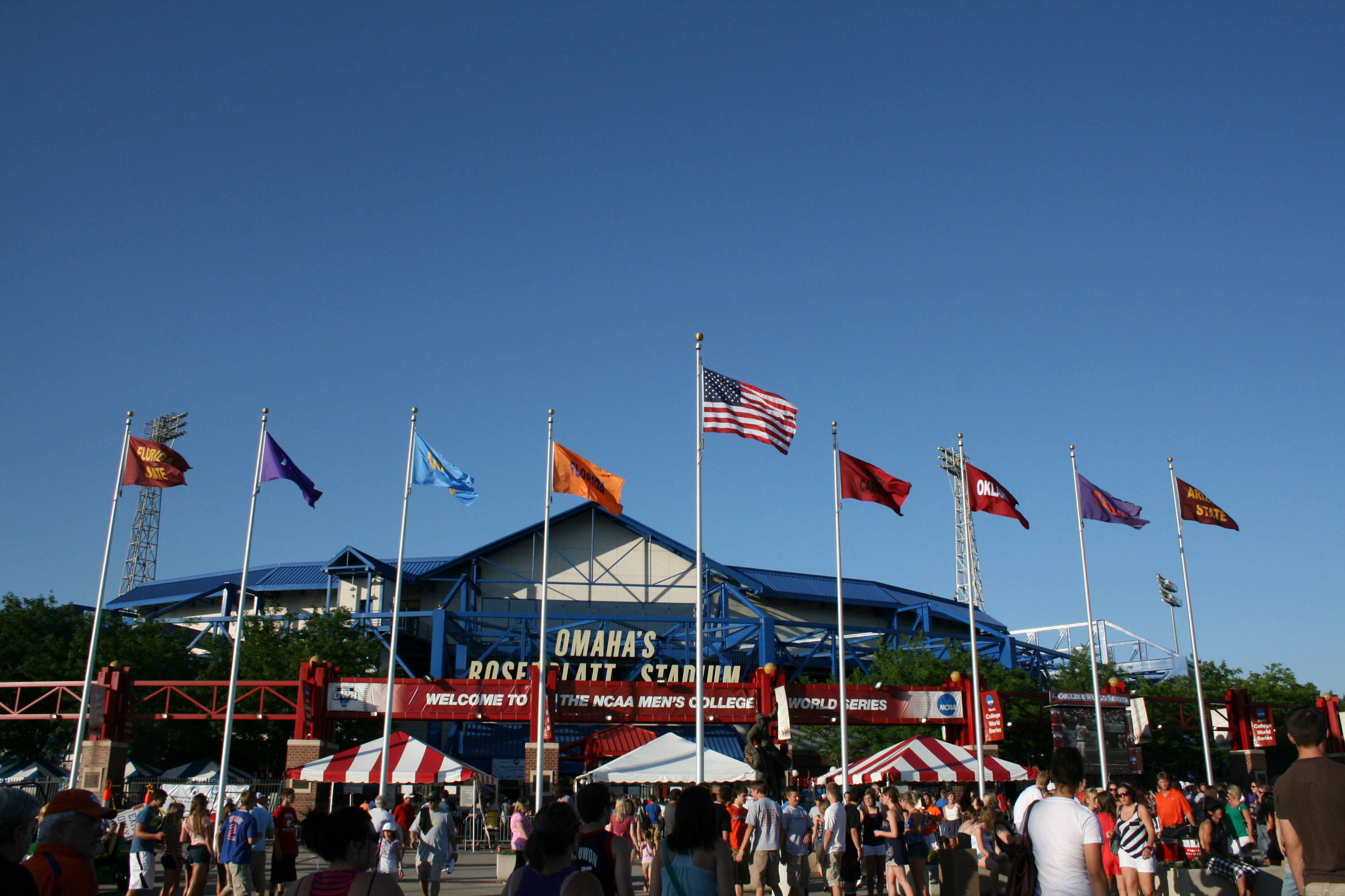 The flags flying outside Rosenblatt Stadium