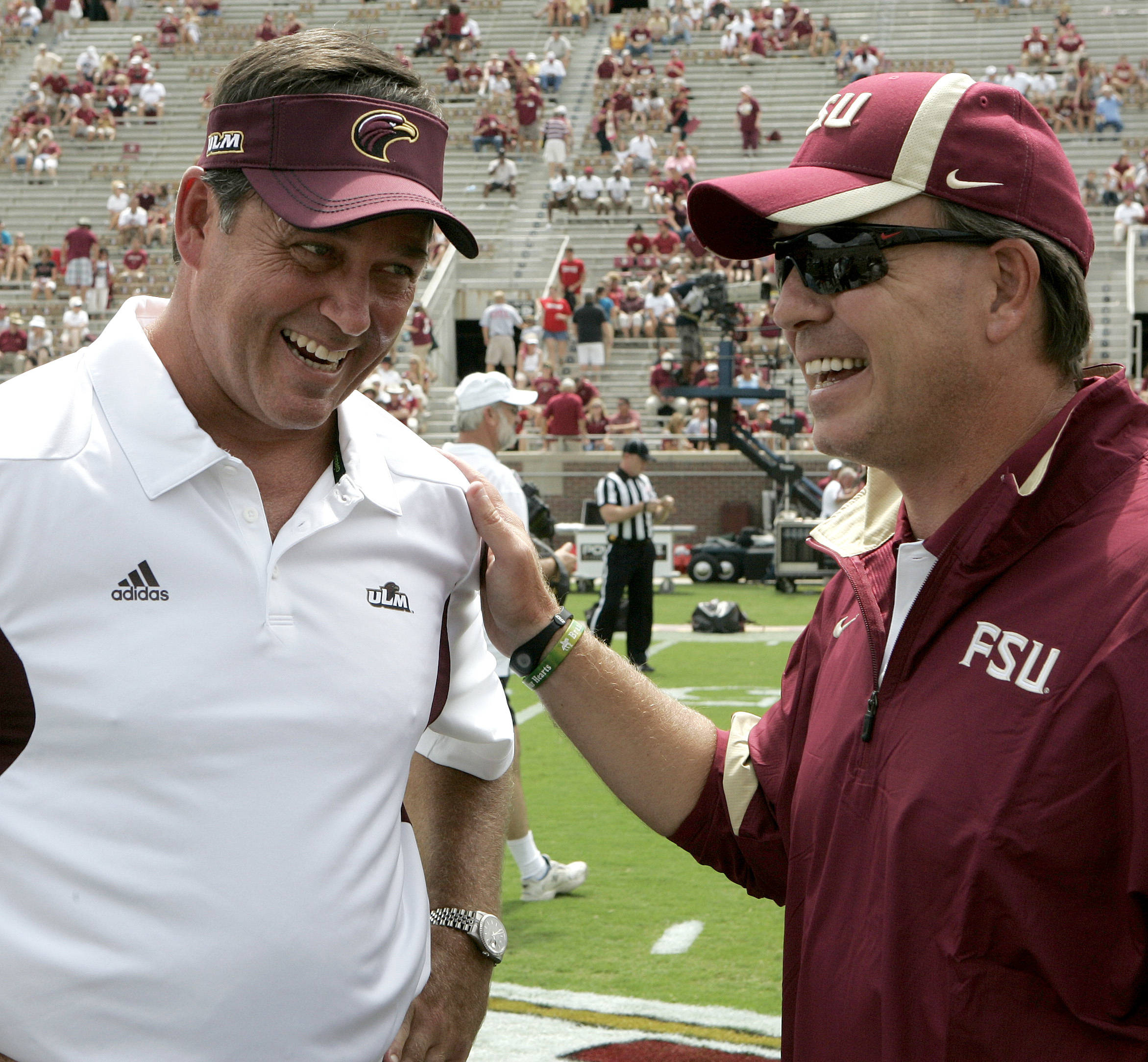 Florida State head coach Jimbo Fisher, right, chats with Louisiana-Monroe head coach Todd Berry before the start of their NCAA college football game on Saturday, Sept. 3, 2011 in Tallahassee, Fla. (AP Photo/Steve Cannon) Louisiana