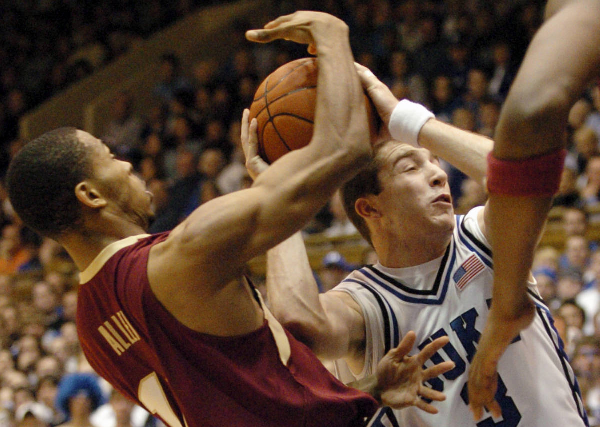 Florida State's Jerel Allen, left, steals the ball from Duke's Greg Paulus (3) in the first half of a basketball game in Durham, N.C., on Sunday, Feb. 4, 2007. Florida State upset Duke 68-67. (AP Photo/Sara D. Davis)