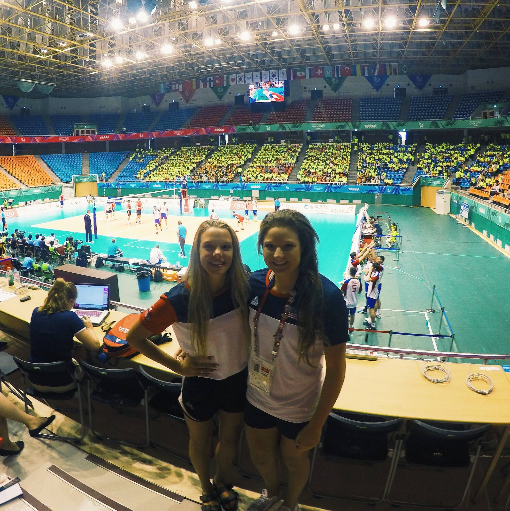 Nicole Walch poses with Paige Tapp at one of the competition venues.