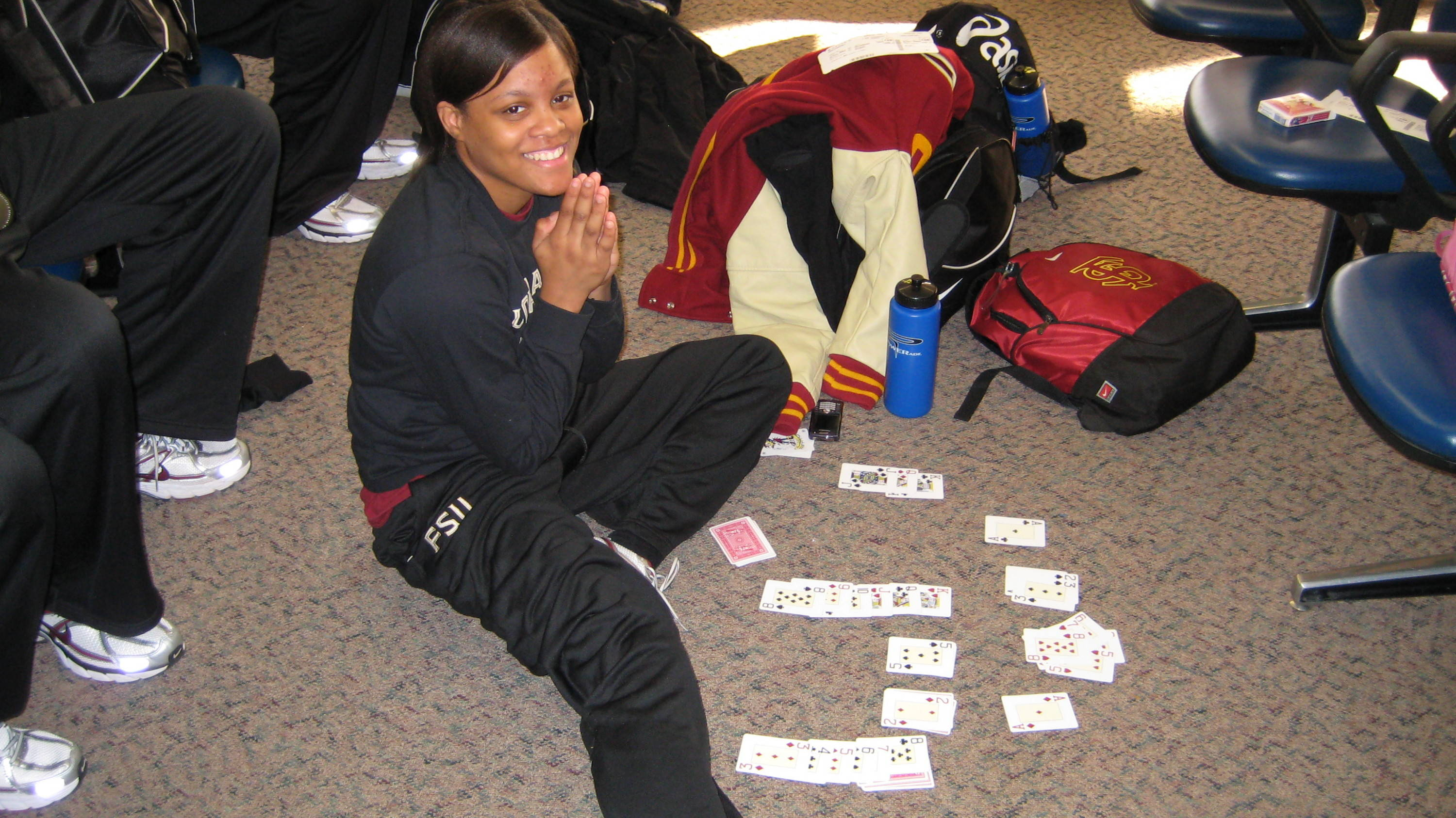 Sept. 19 ... Courtney Ward is pictured here passing the time while waiting to head off on another trip with the women's basketball team.