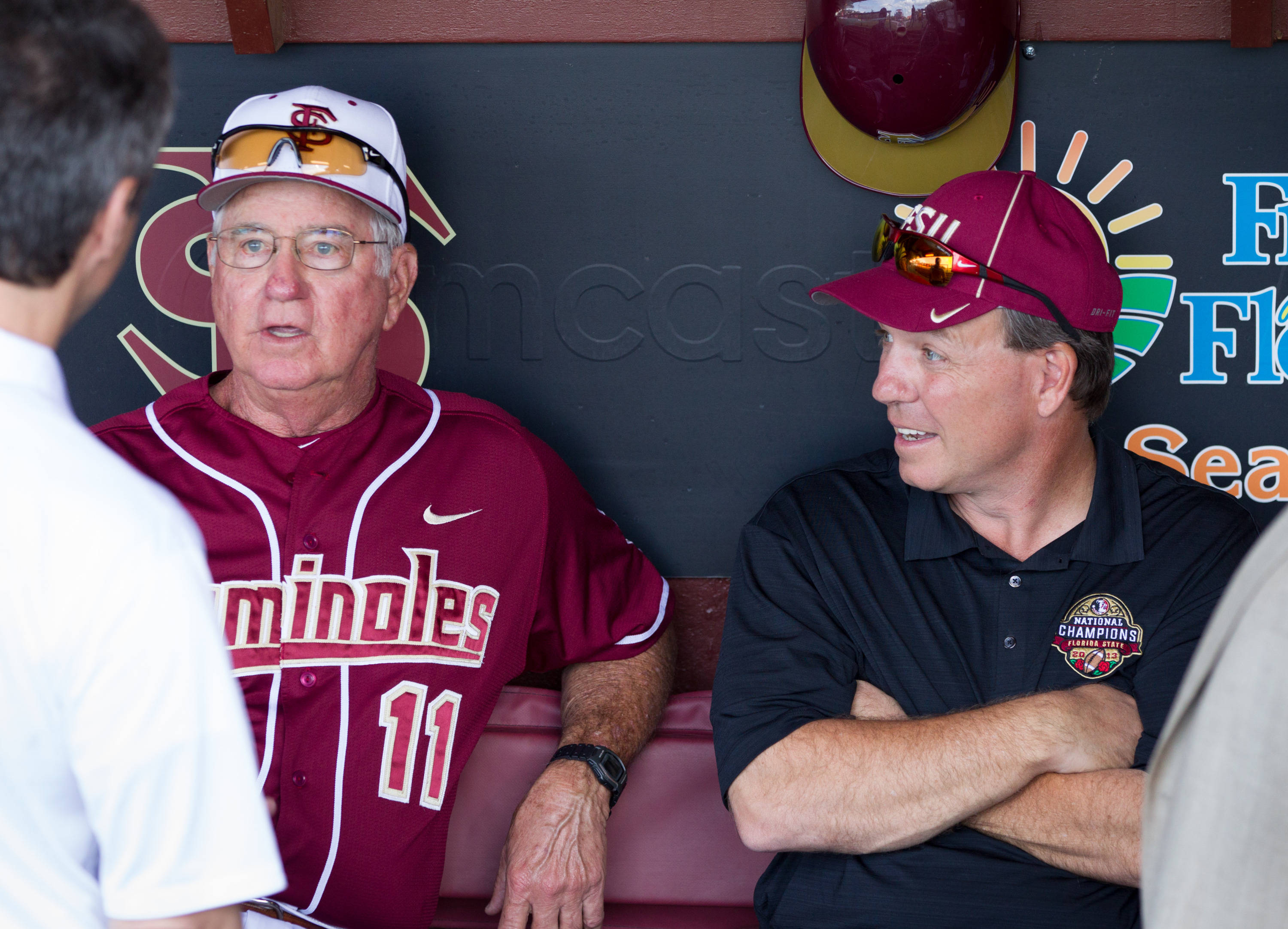 Mike Martin (11) and Jimbo Fisher visit before the game.