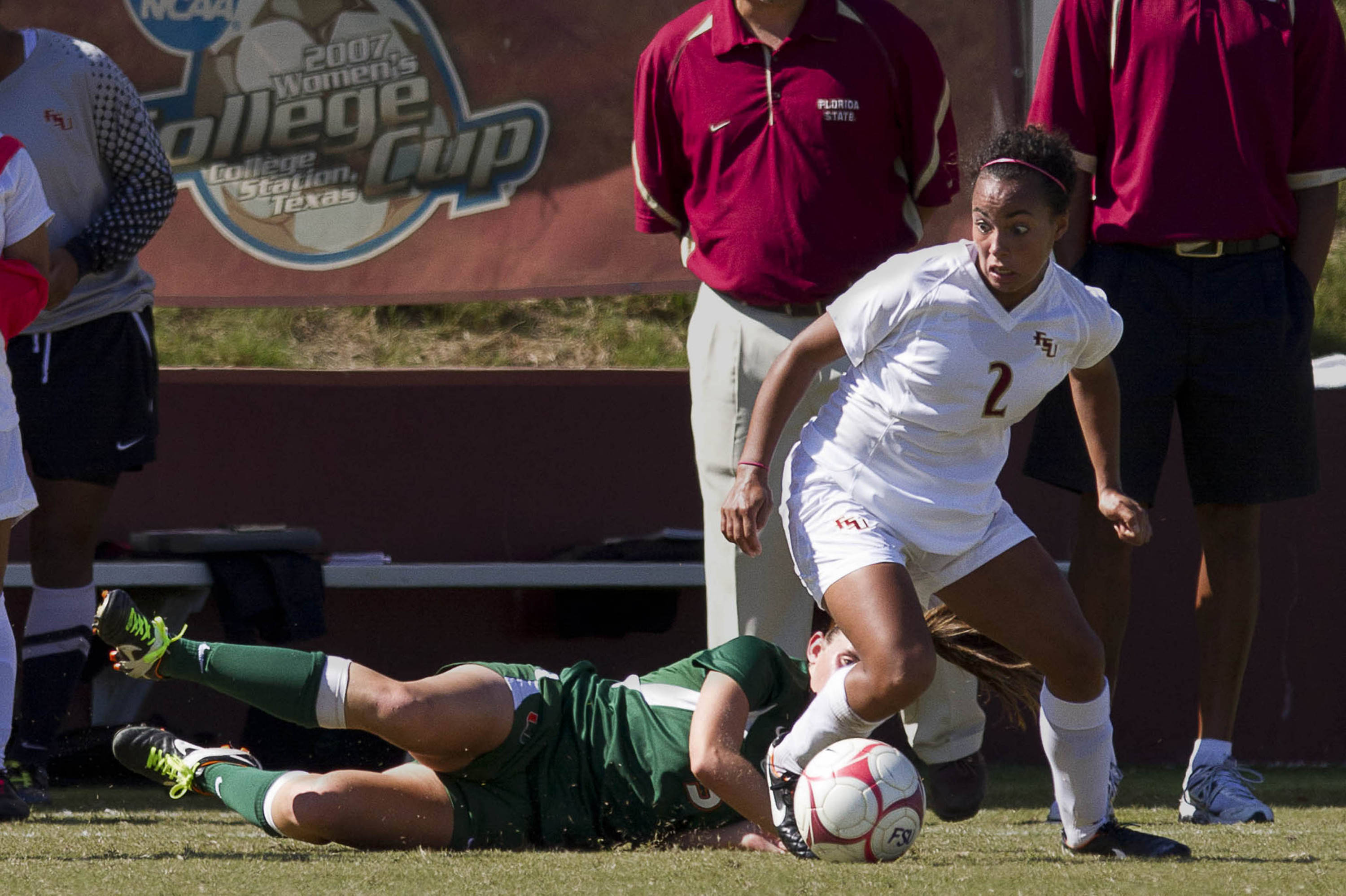 Ines Jaurena (2) protects the ball from a Miami defender.