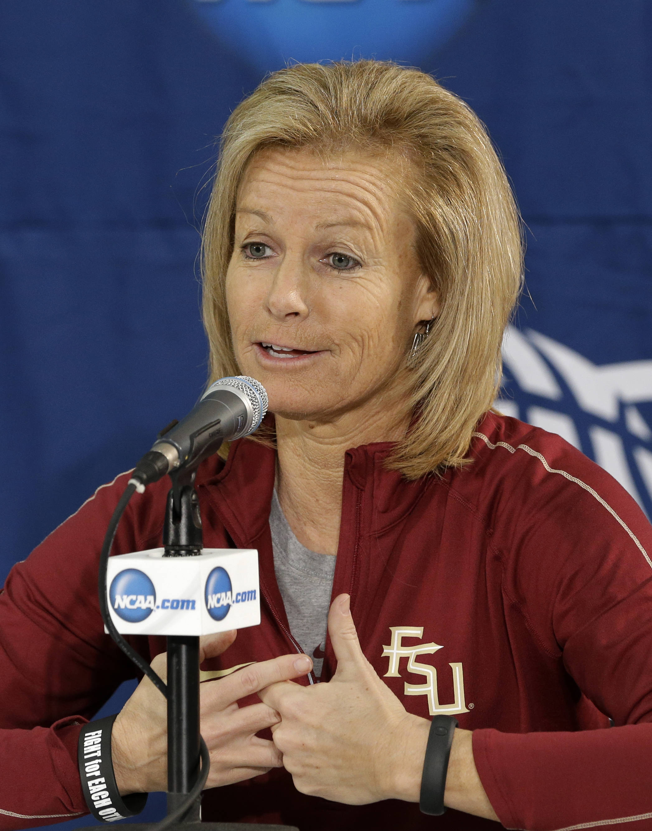 Florida State head coach Sue Semrau  responds to a reporters question during a press conference at the women's NCAA college basketball tournament Monday, March 25, 2013, in Waco, Texas. FSU is scheduled to play Baylor on Tuesday. (AP Photo/Tony Gutierrez)
