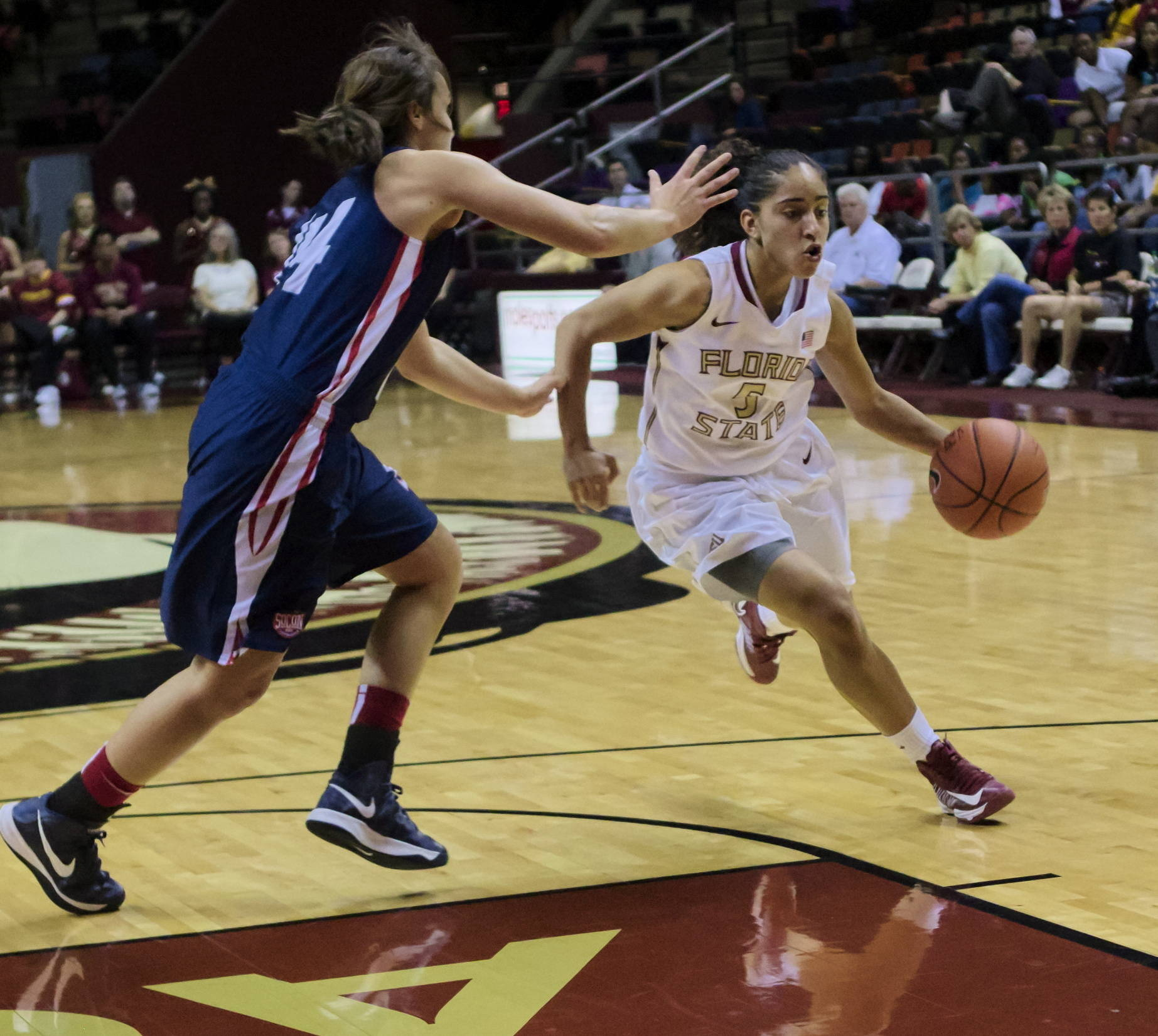 Cheetah Delgado (5), FSU vs Samford, 11/11/12. (Photo by Steve Musco)