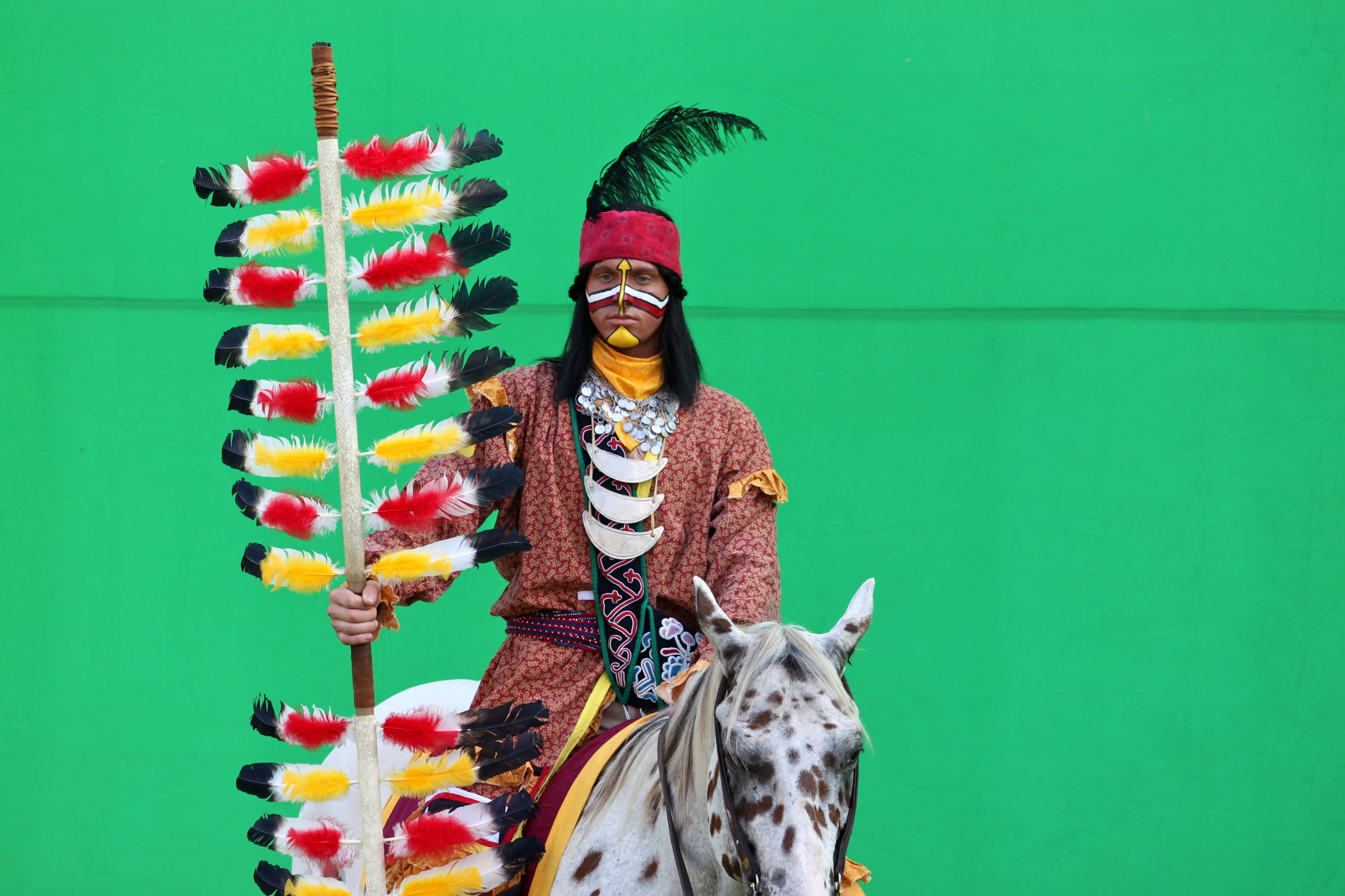 Chief Osceola and Renegade being shot on the green screen for Seminole Productions.