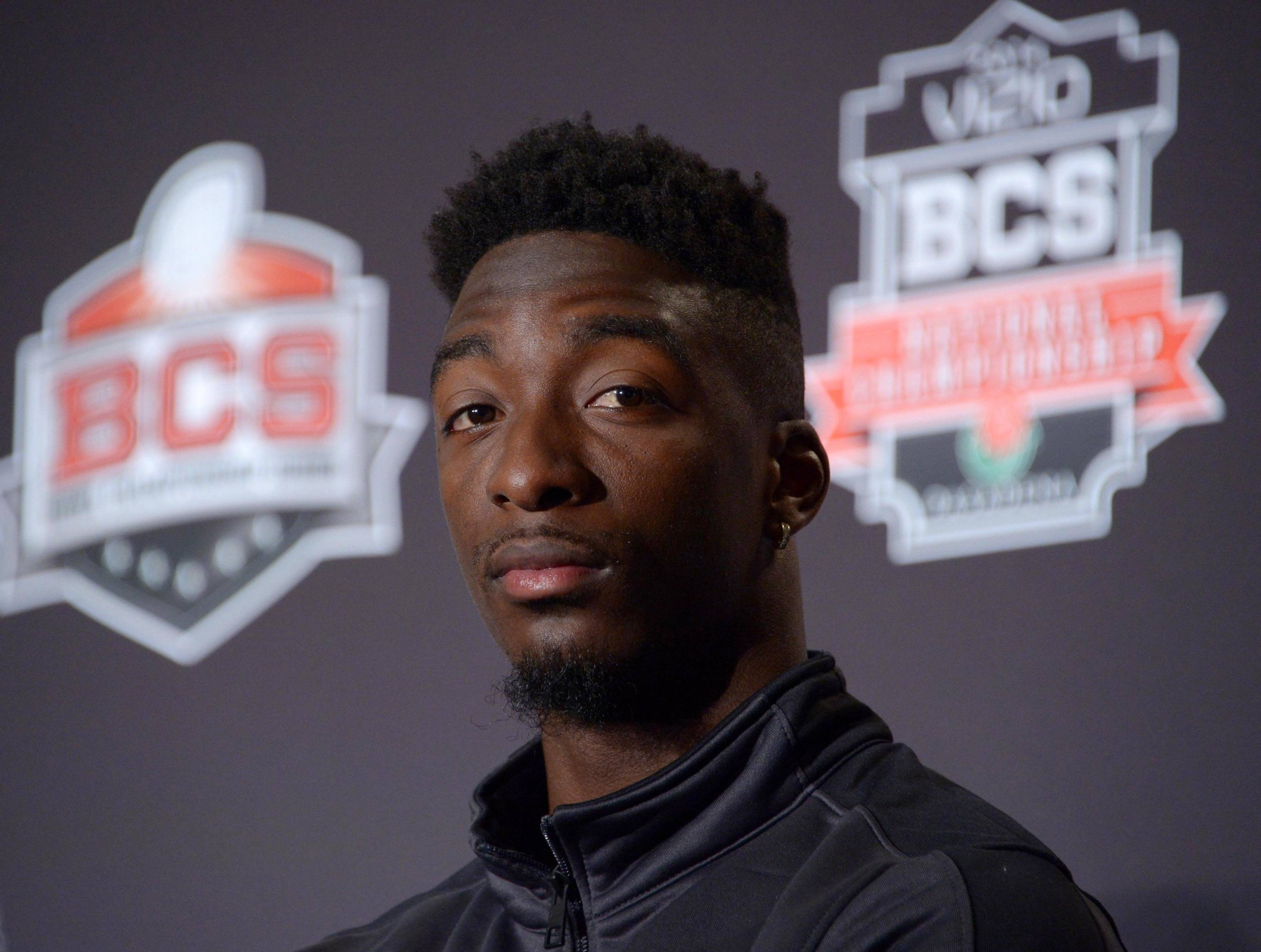 Florida State Seminoles receiver Kenny Shaw at a 2014 BCS National Championship press conference at Newport Beach Marriott. Mandatory Credit: Kirby Lee-USA TODAY Sports