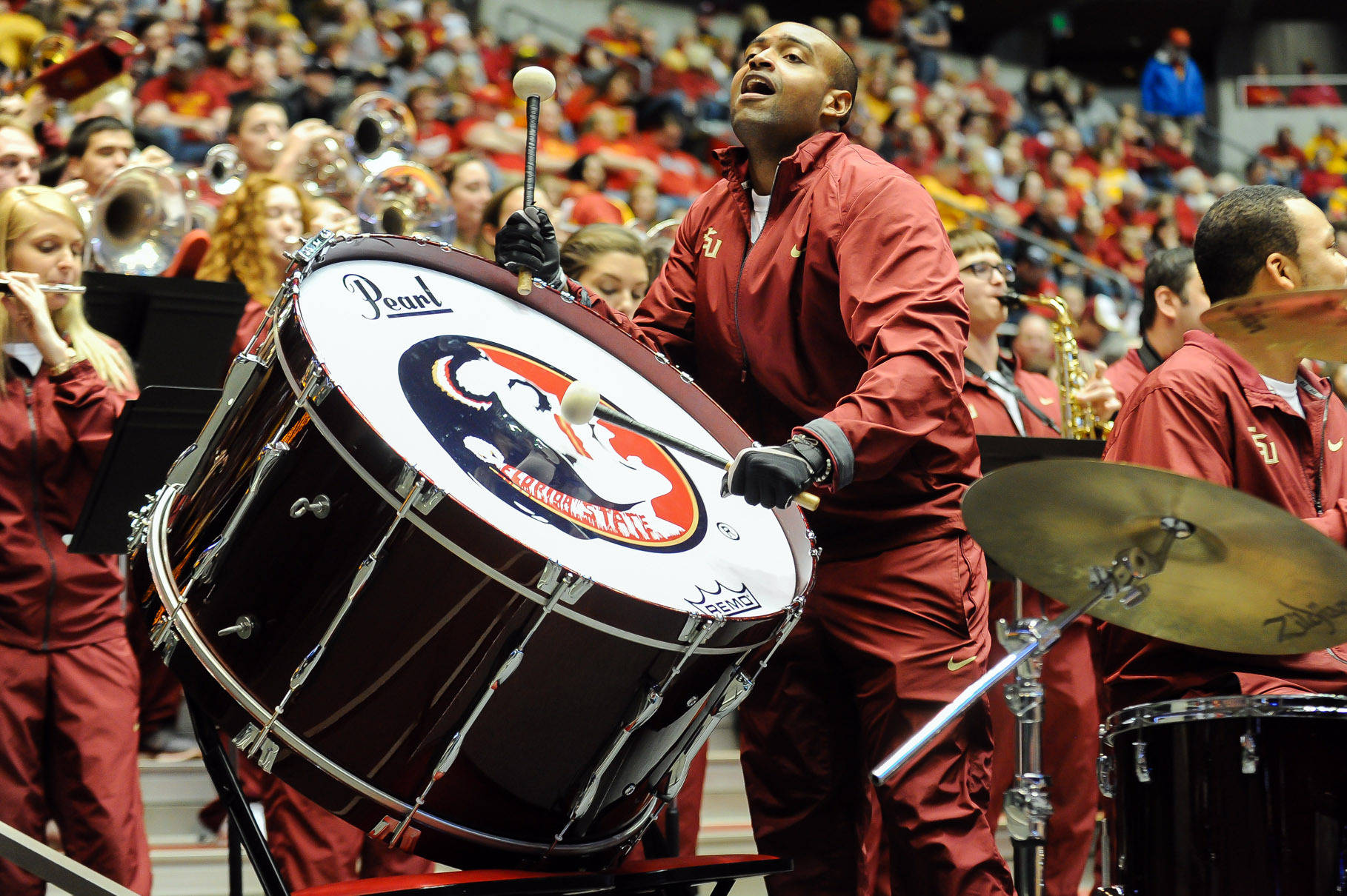 Mar 22, 2014; Ames, IA, USA; A Florida State Seminoles drummer performs in the first half of a women's college basketball game in the first round against the Iowa State Cyclones in the NCAA Tournament at James H. Hilton Coliseum. Mandatory Credit: Steven Branscombe-USA TODAY Sports