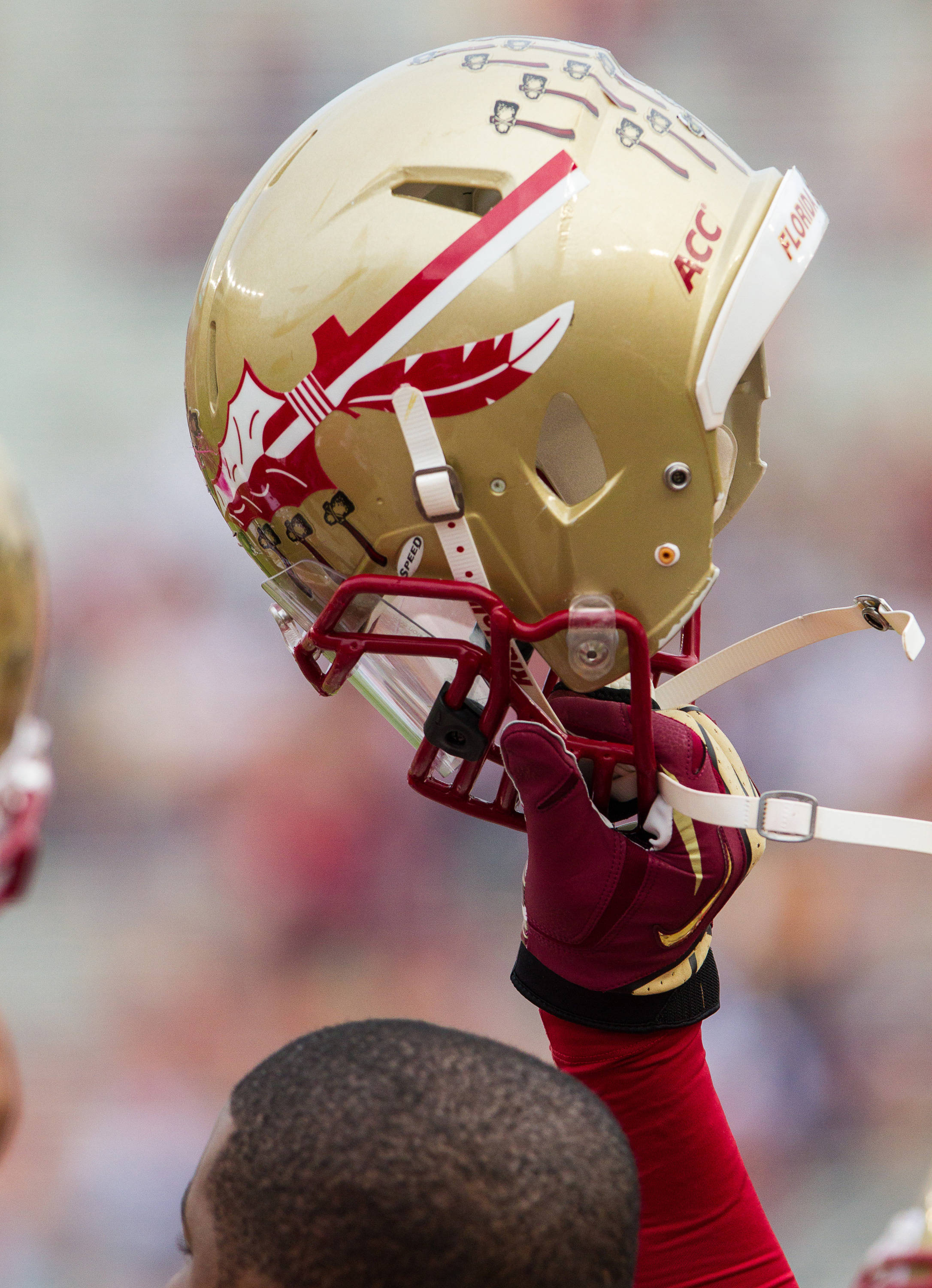An FSU player holds his helmet in the air before FSU Football's 80-14 victory over Idaho in Tallahassee, Fla on Saturday, November 23, 2013. Photos by Mike Schwarz.