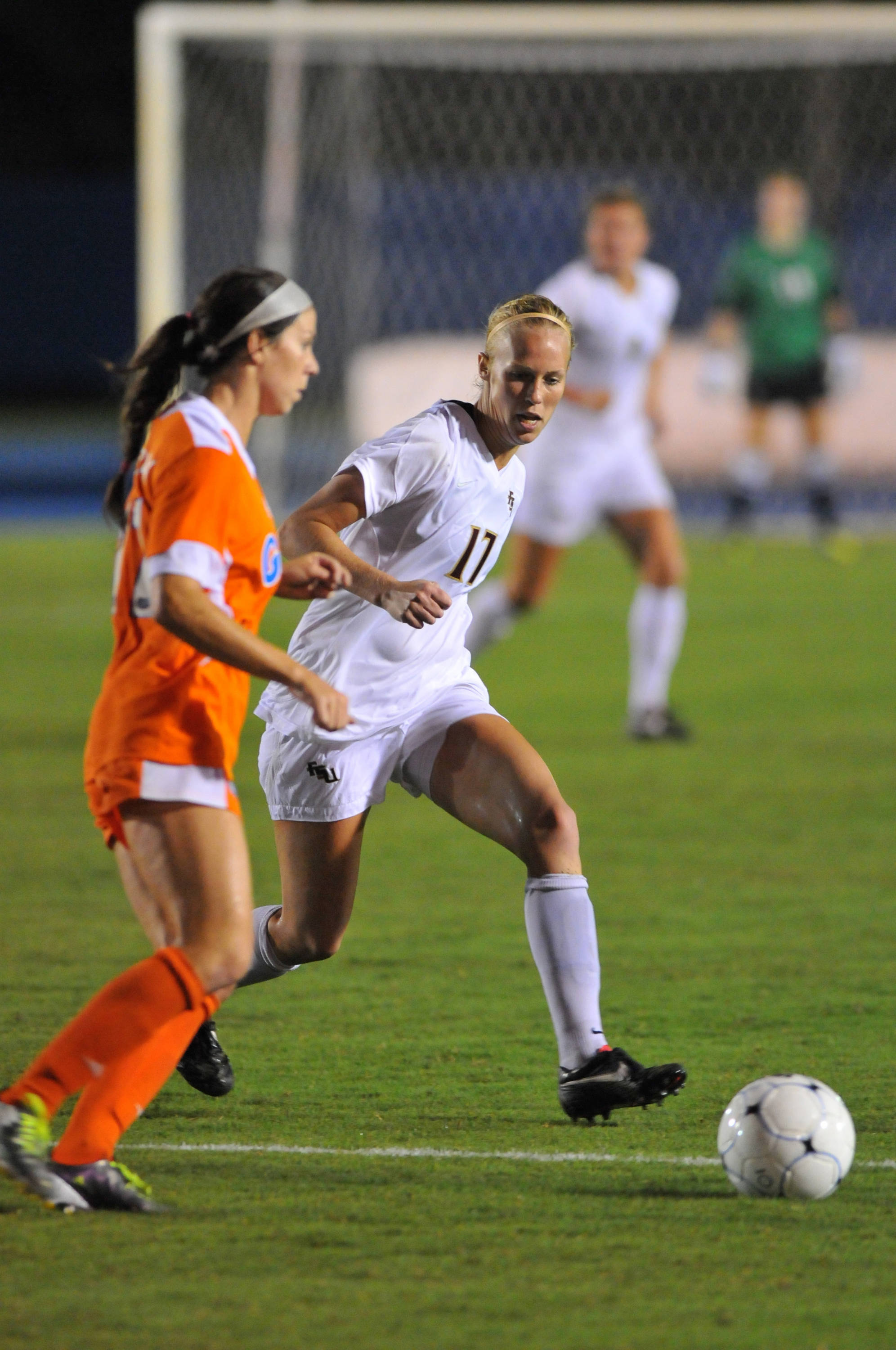 Ella Stephan defends the ball in the second half.