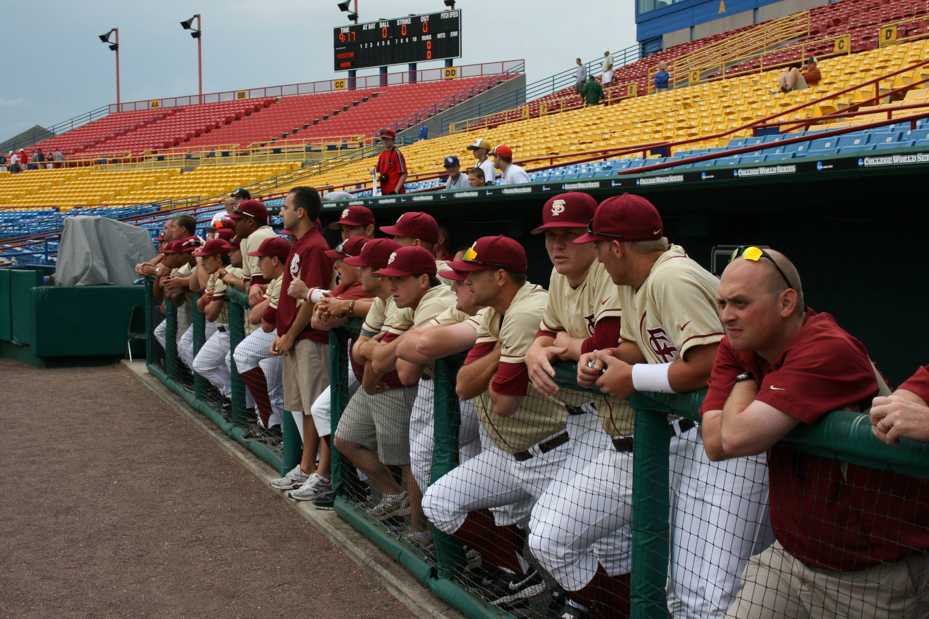 The 2010 Seminoles in the first base dugout inside Rosenblatt