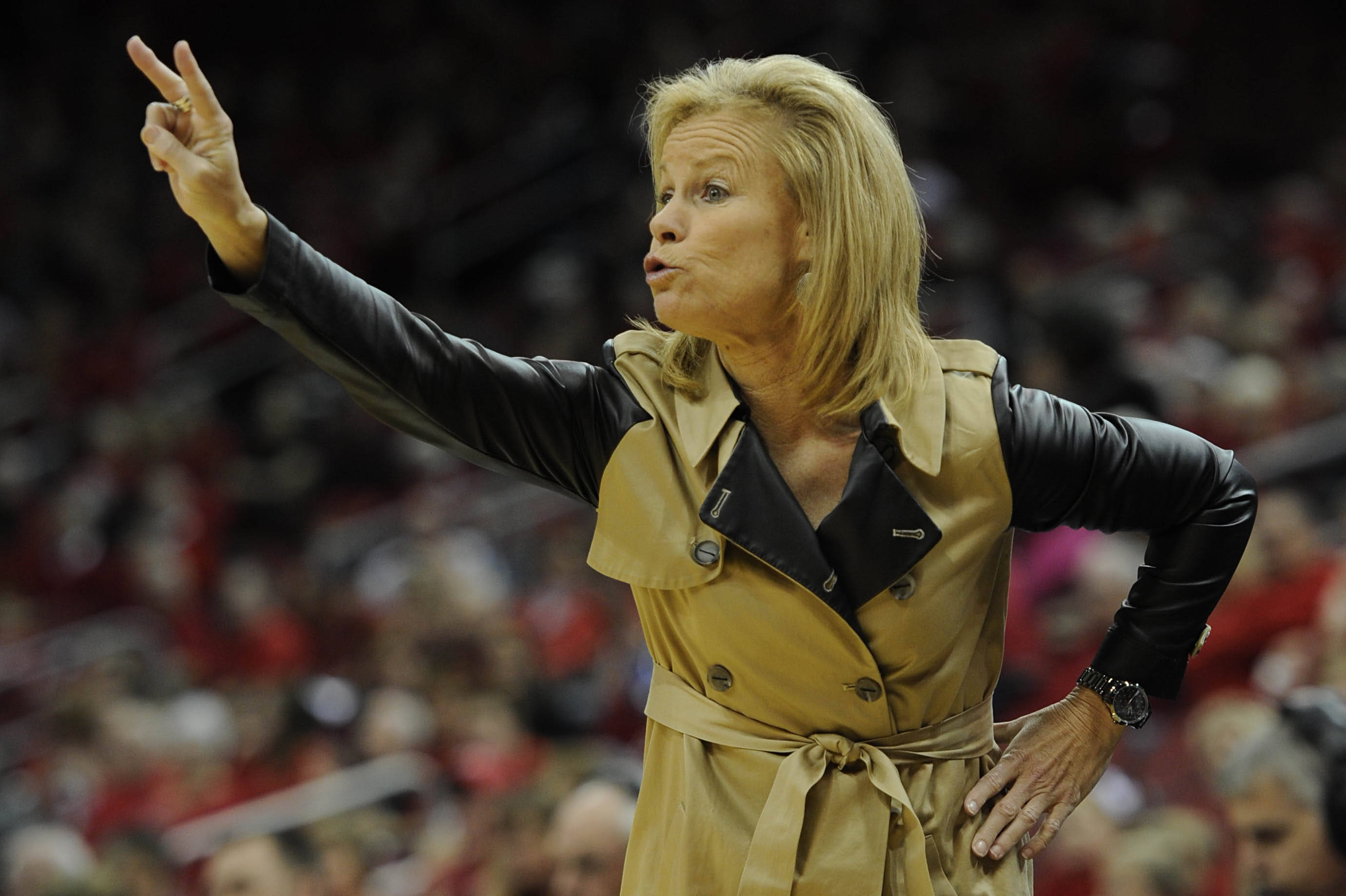 Nov 24, 2013; Louisville, KY, USA; Florida State Seminoles head coach Sue Semrau calls out a play during the first half against the Louisville Cardinals at KFC YUM! Center. Mandatory Credit: Jamie Rhodes-USA TODAY Sports