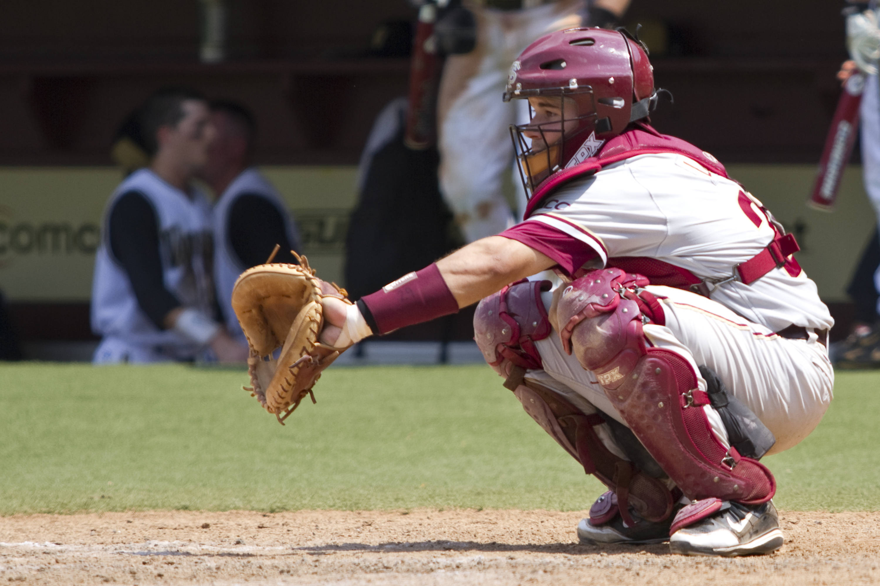 Rafael Lopez (29), catching for FSU in the bottom of the eighth inning.