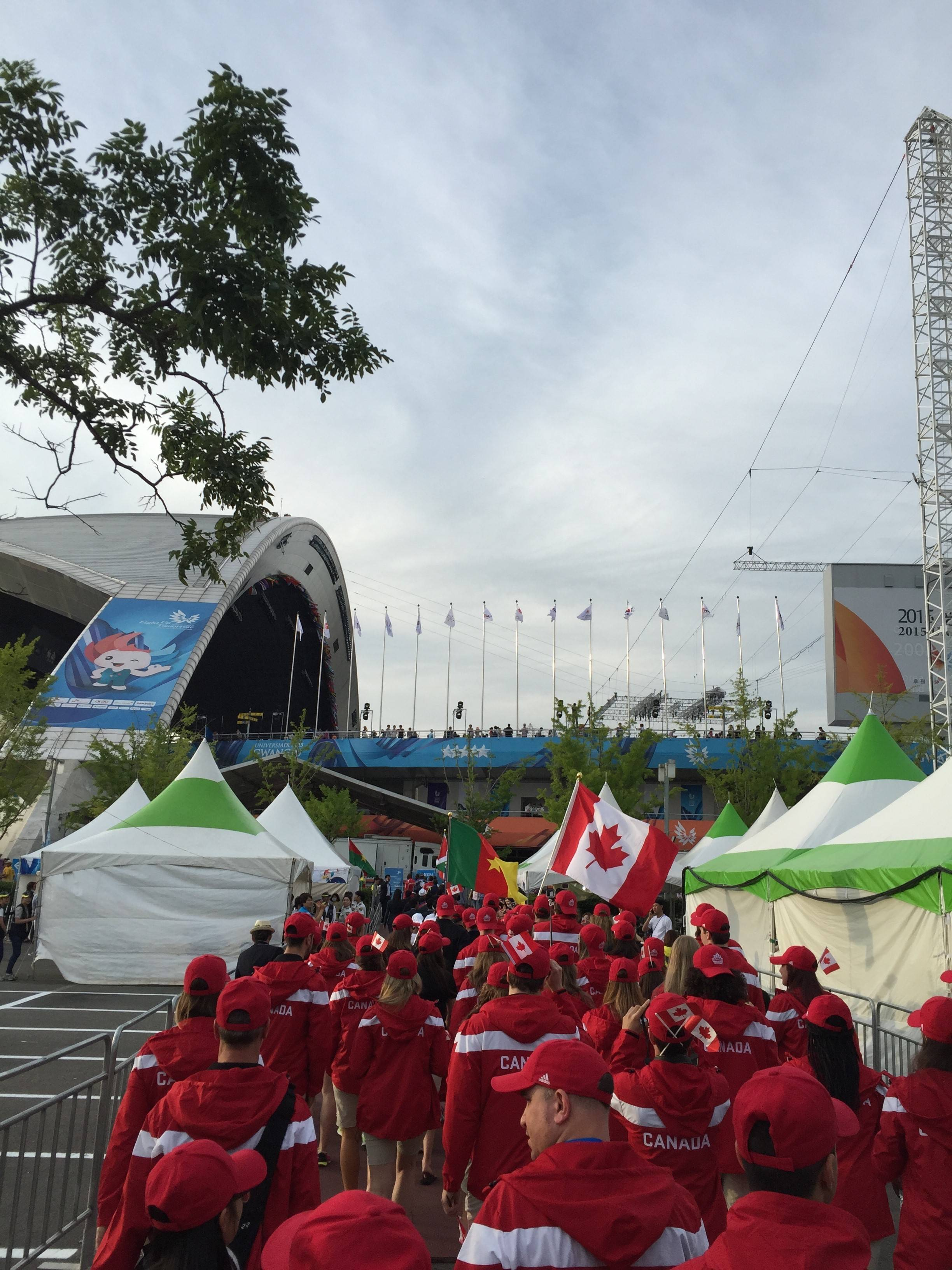 Team Canada walks into the opening ceremonies.