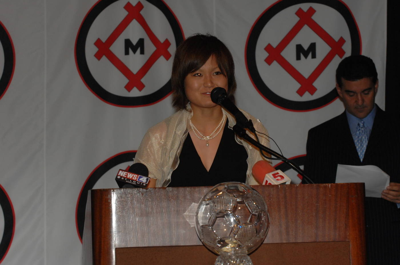 Mami at the Hermann Trophy presentation
