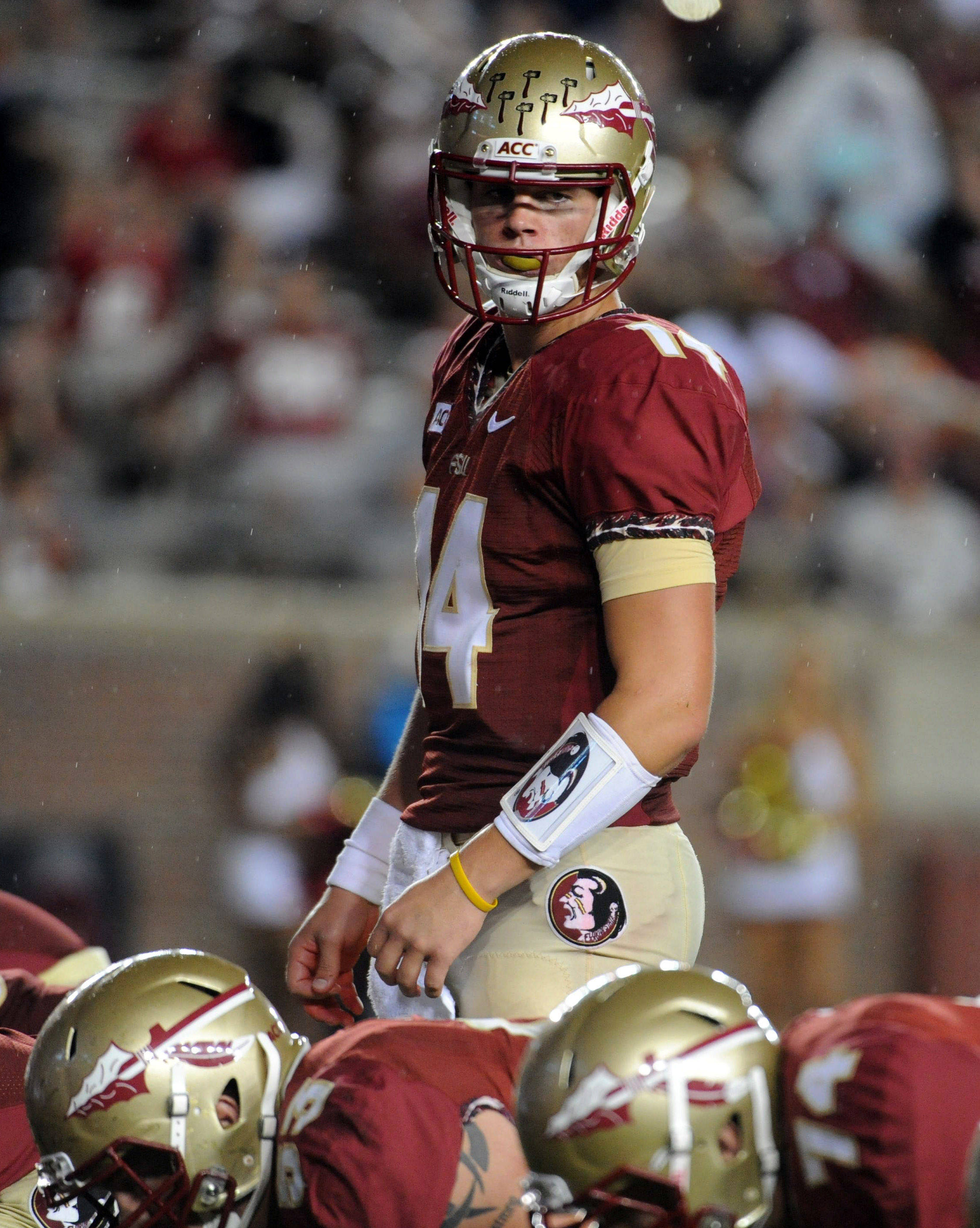 Florida State Seminoles quarterback Jacob Coker (14) prepares to snap the ball during the second half of the game against the Bethune-Cookman Wildcats. (Melina Vastola-USA TODAY Sports)