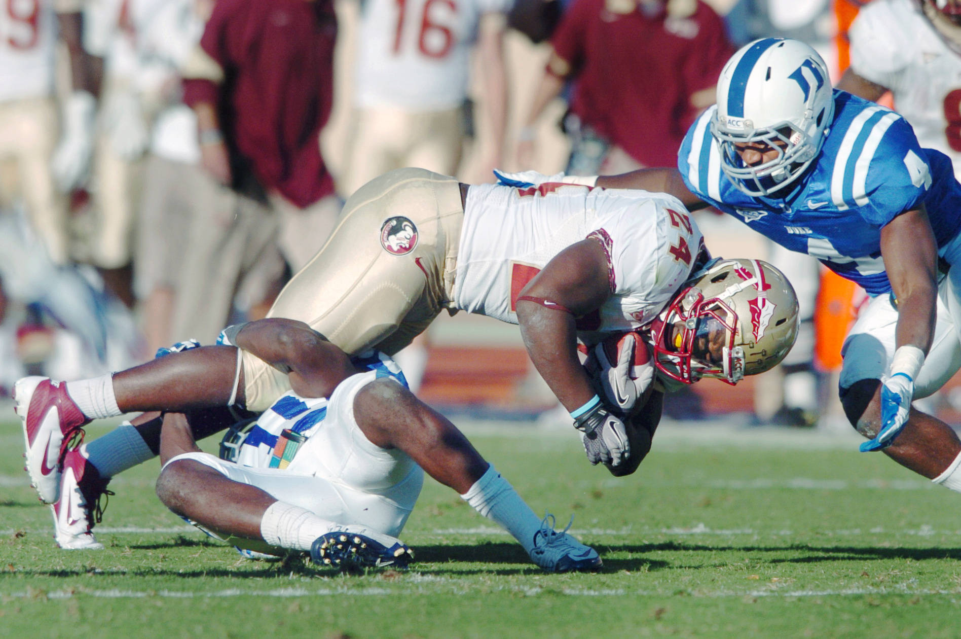 Florida State's Lonnie Pryor (24) reaches for a first down by Duke's Matt Daniels, left, and Walt Canty (4) during an NCAA college football game on Saturday, Oct. 15, 2011, at Wallace Wade Stadium in Durham, N.C. (AP Photo/The Herald-Sun, Bernard Thomas) )