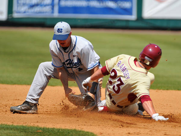 James Ramsey slides into second base.