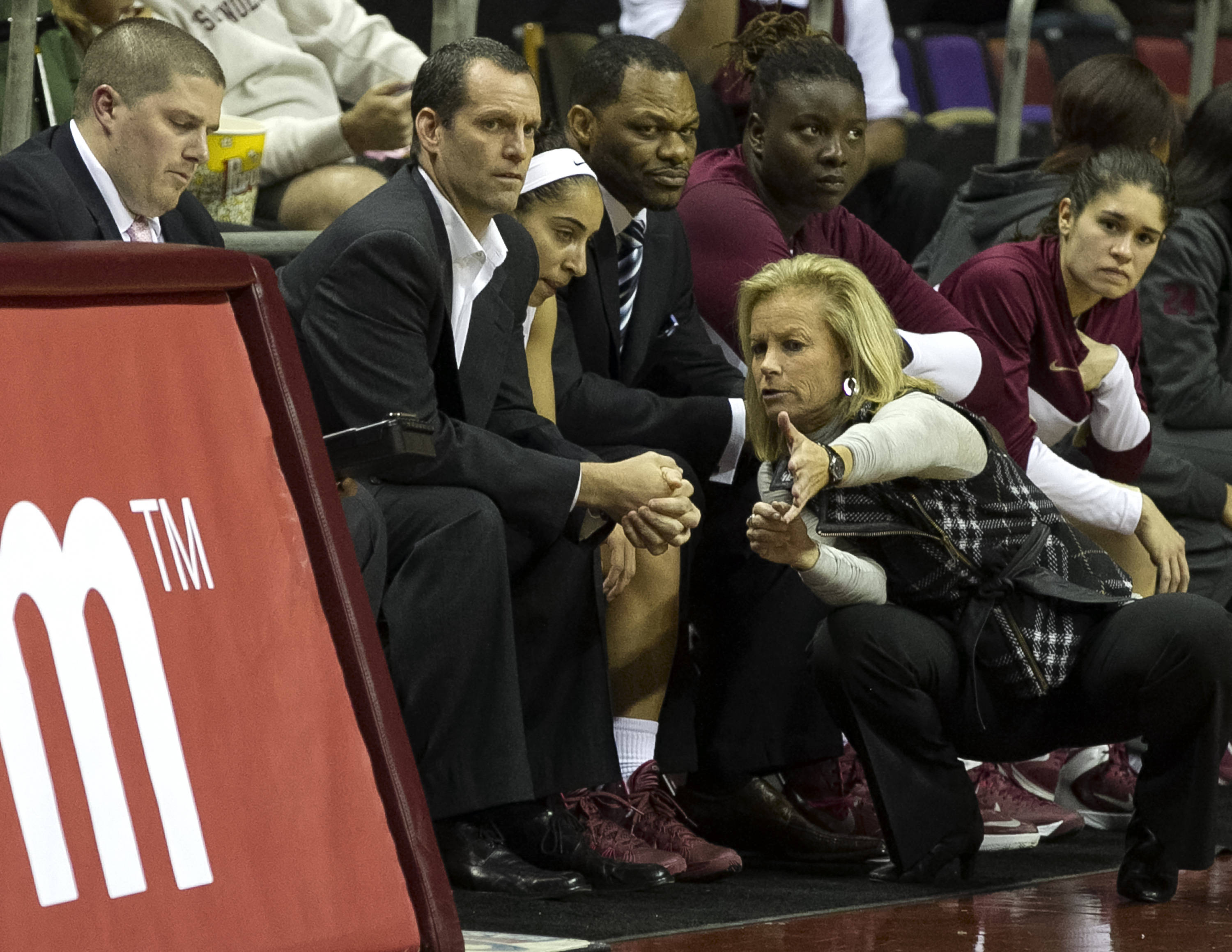Head Coach Sue Semrau, Associate Head Coach Lance White, Assistant Coach Ronald Hughey, Cheetah Delgado (5), FSU vs Stetson, 11-29-13,  (Photo by Steve Musco)