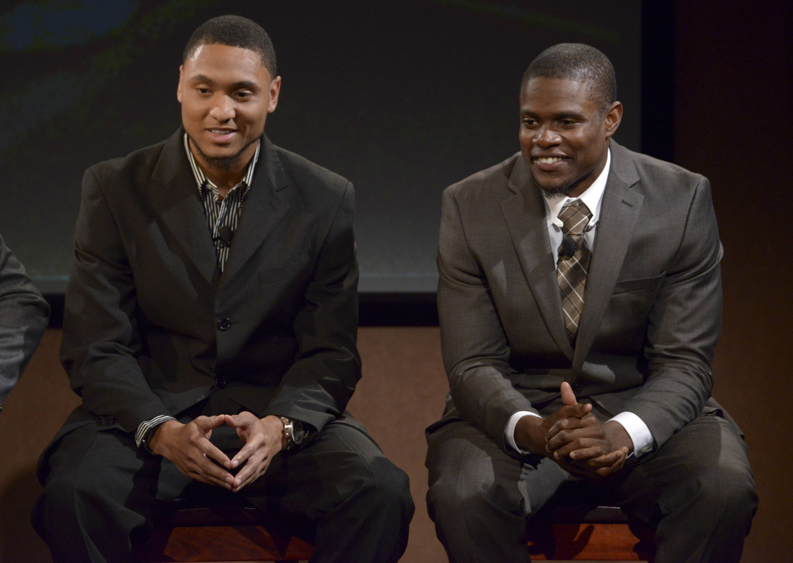 Florida State Seminoles receiver Rashad Greene (left) and defensive back Lamarcus Joyner at a press conference for the 2014 BCS National Championship at ESPN Zone Downtown Disney. Mandatory Credit: Kirby Lee-USA TODAY Sports