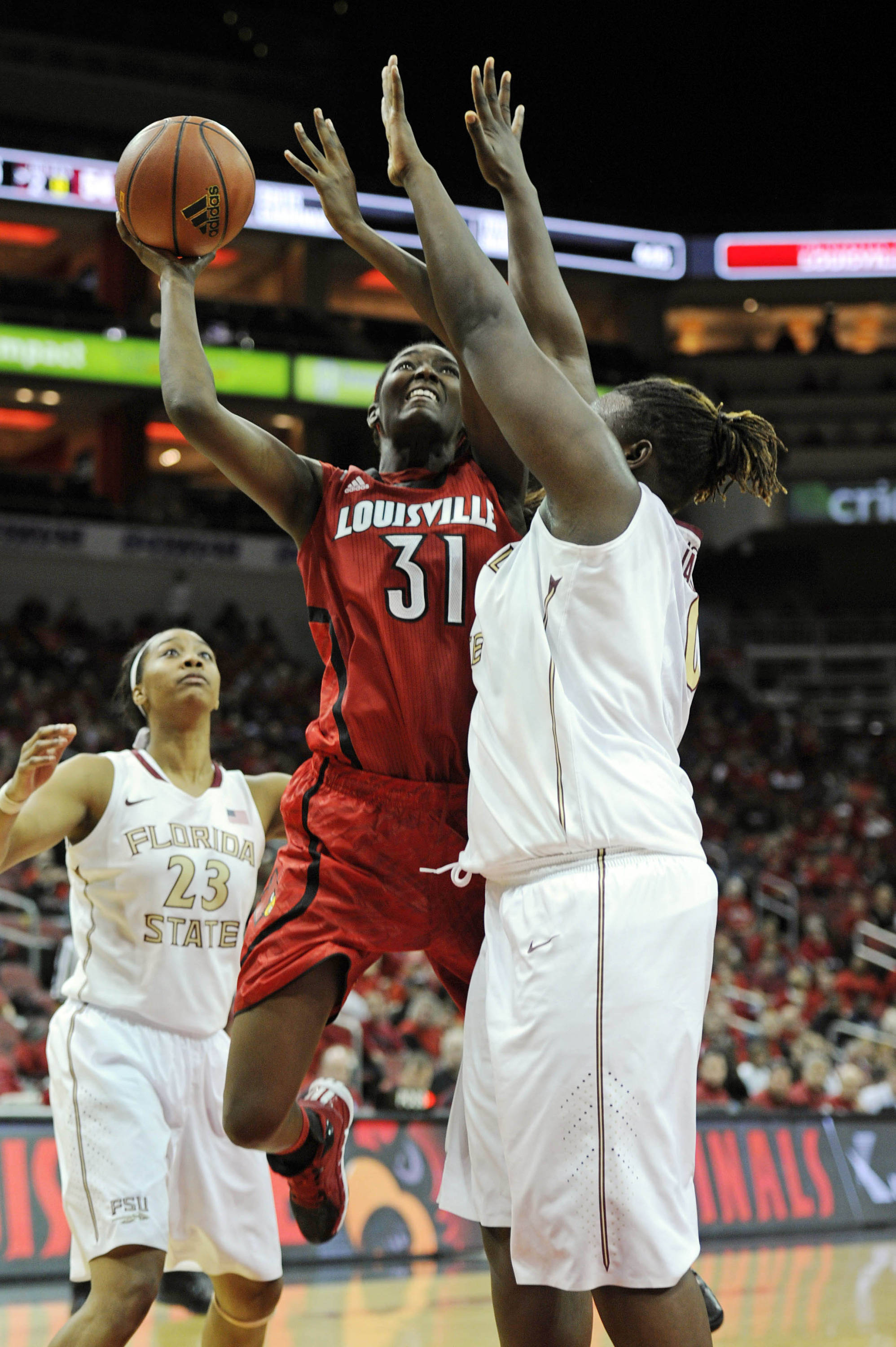 Nov 24, 2013; Louisville, KY, USA; Louisville Cardinals forward Asia Taylor (31) shoots against Florida State Seminoles center Kai James (0) during overtime at KFC YUM! Center. Louisville defeated Florida State 69-59.  Mandatory Credit: Jamie Rhodes-USA TODAY Sports