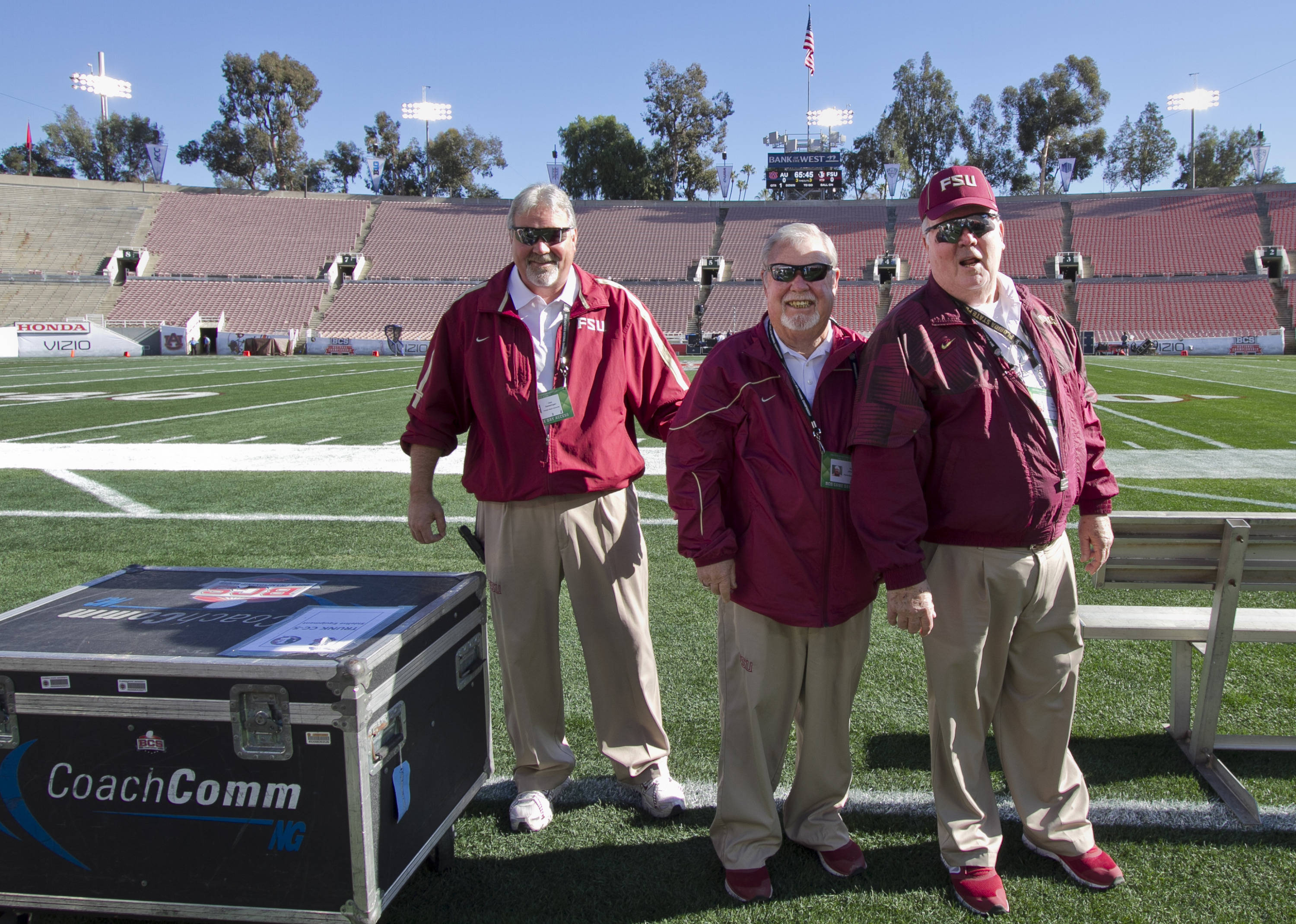 Beginning game equipment set up - 7 hrs before game time, FSU at BCS Championship, Rose Bowl, Pasadena, CA,  1-06-14,  (Photo by Steve Musco)
