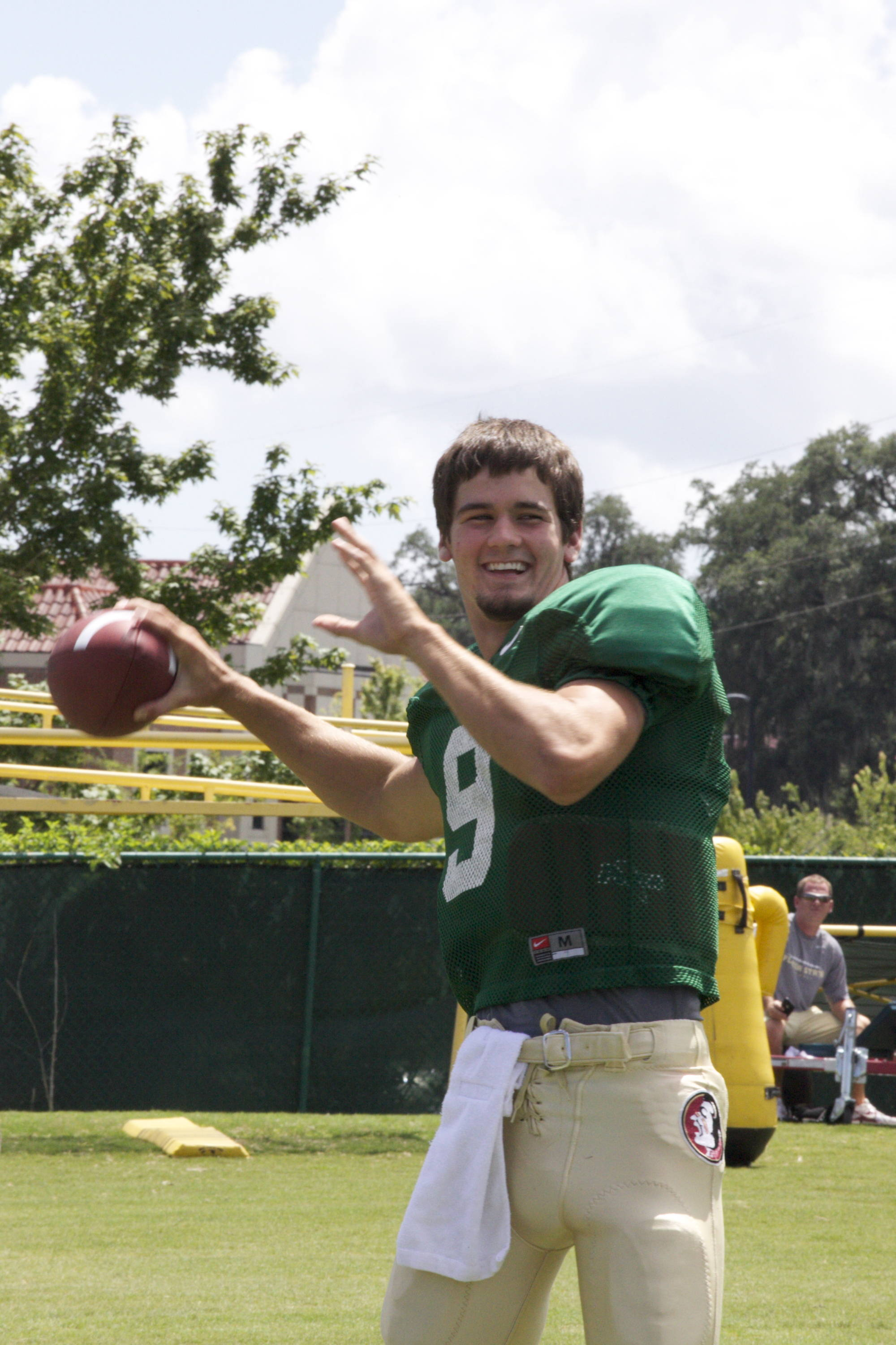 Clint Trickett (9) warms up