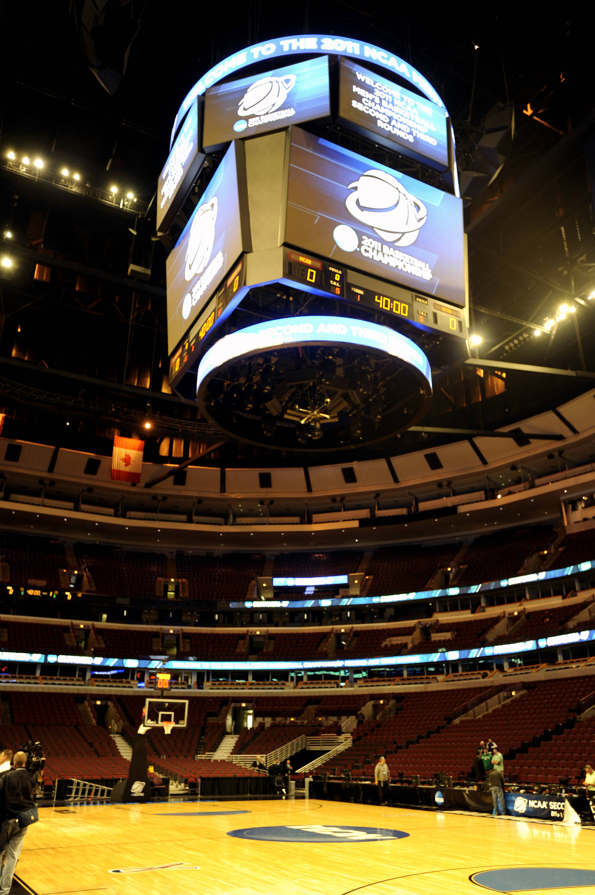 The video board of the United Center