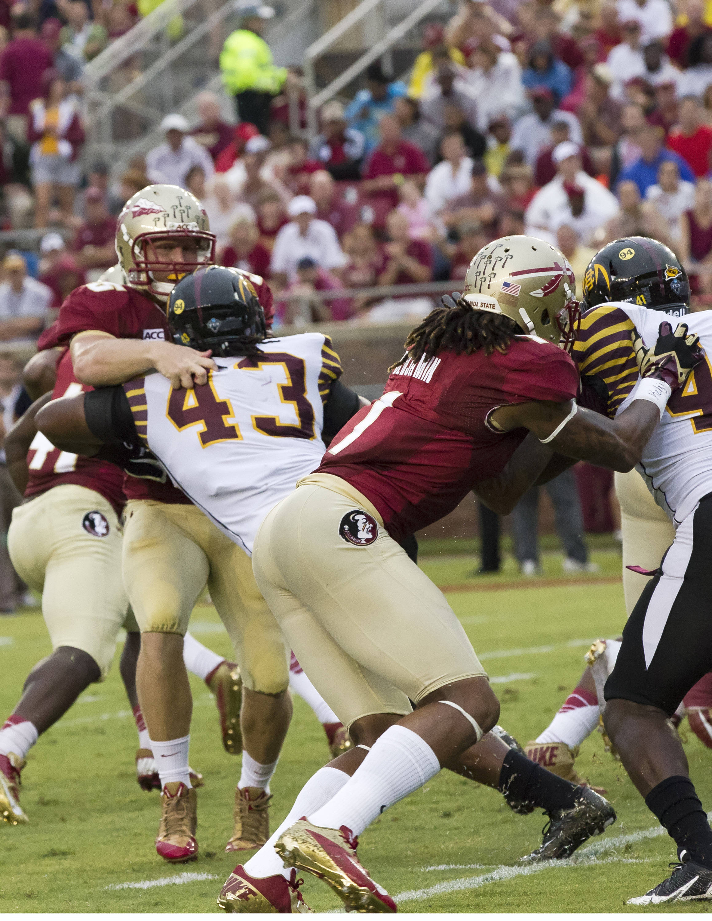 Nick O'Leary (35), Kelvin Benjamin (1), FSU vs Bethune-Cookman,  9-21-13, (Photo by Steve Musco)