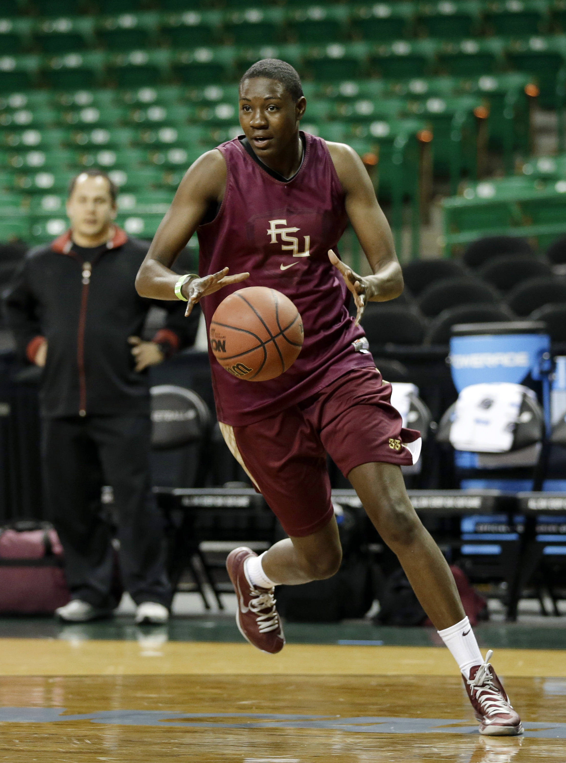 Florida State forward Natasha Howard runs drills during practice for a first-round game in the women's NCAA college basketball tournament Saturday, March 23, 2013, in Waco, Texas. FSU will play Princeton on Sunday. (AP Photo/Tony Gutierrez)