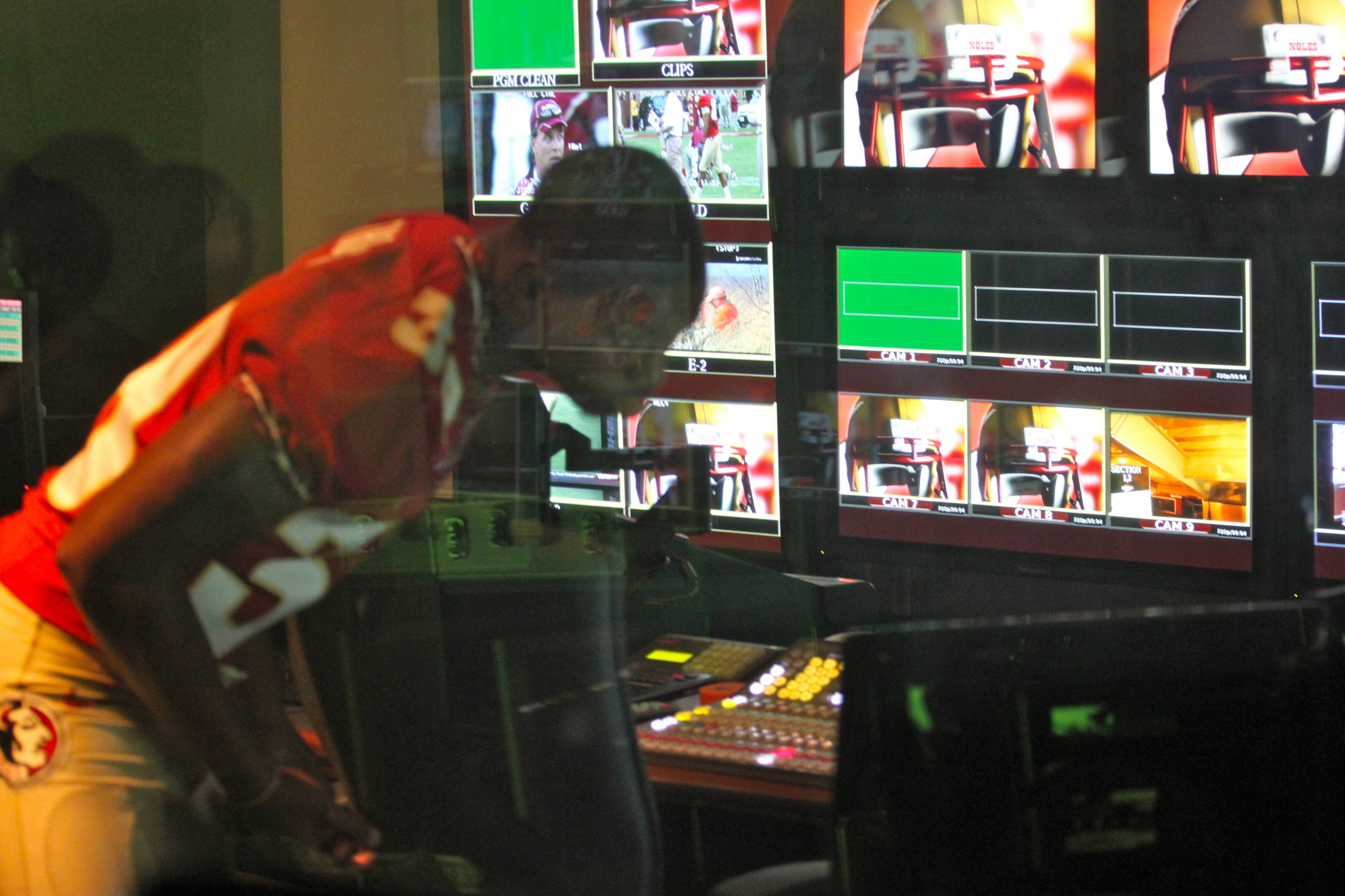 Jermaine Thomas getting a closer look inside Seminole Productions.