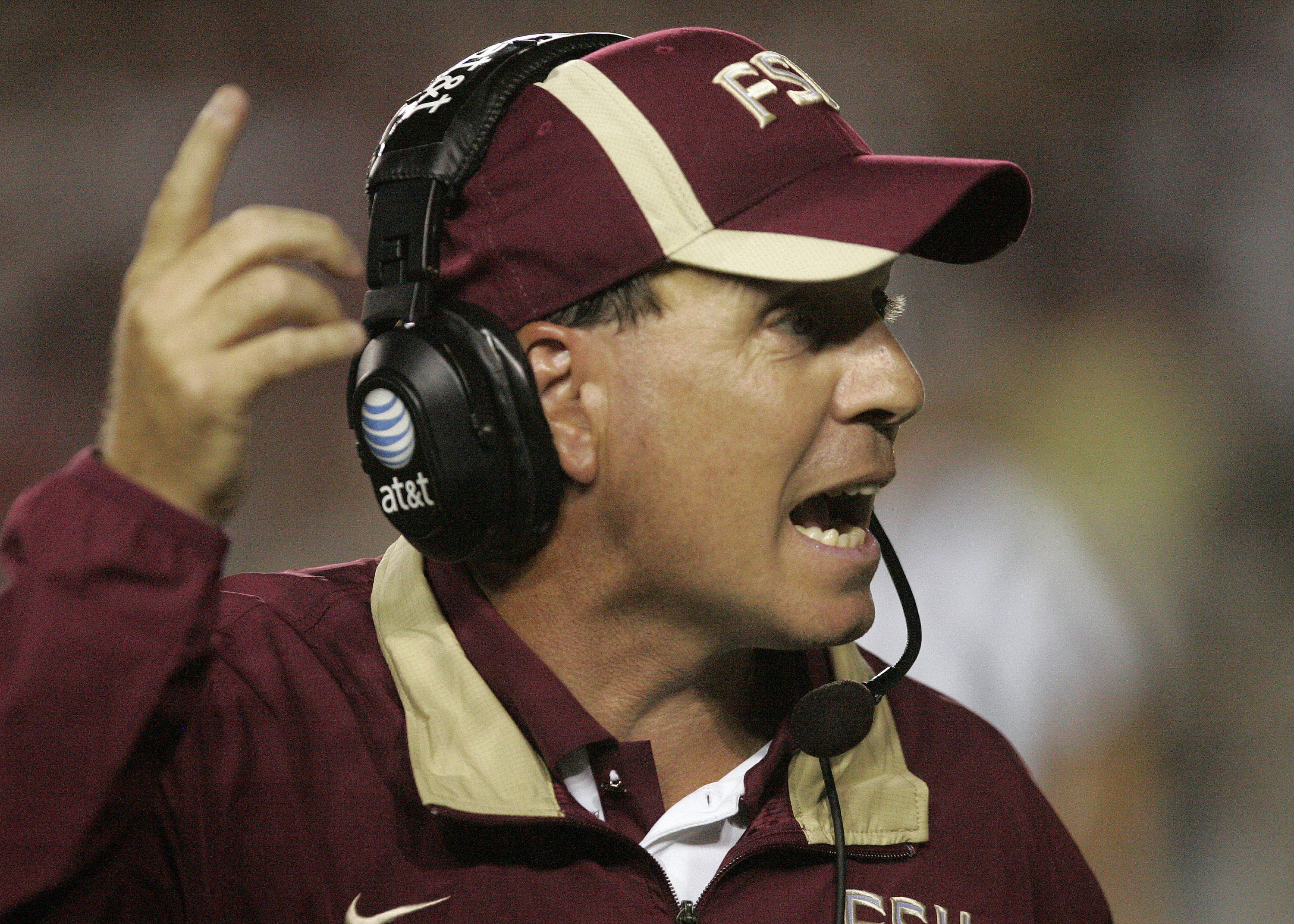 Florida State head coach Jimbo Fisher gestures during the second quarter. (AP Photo/Steve Cannon)